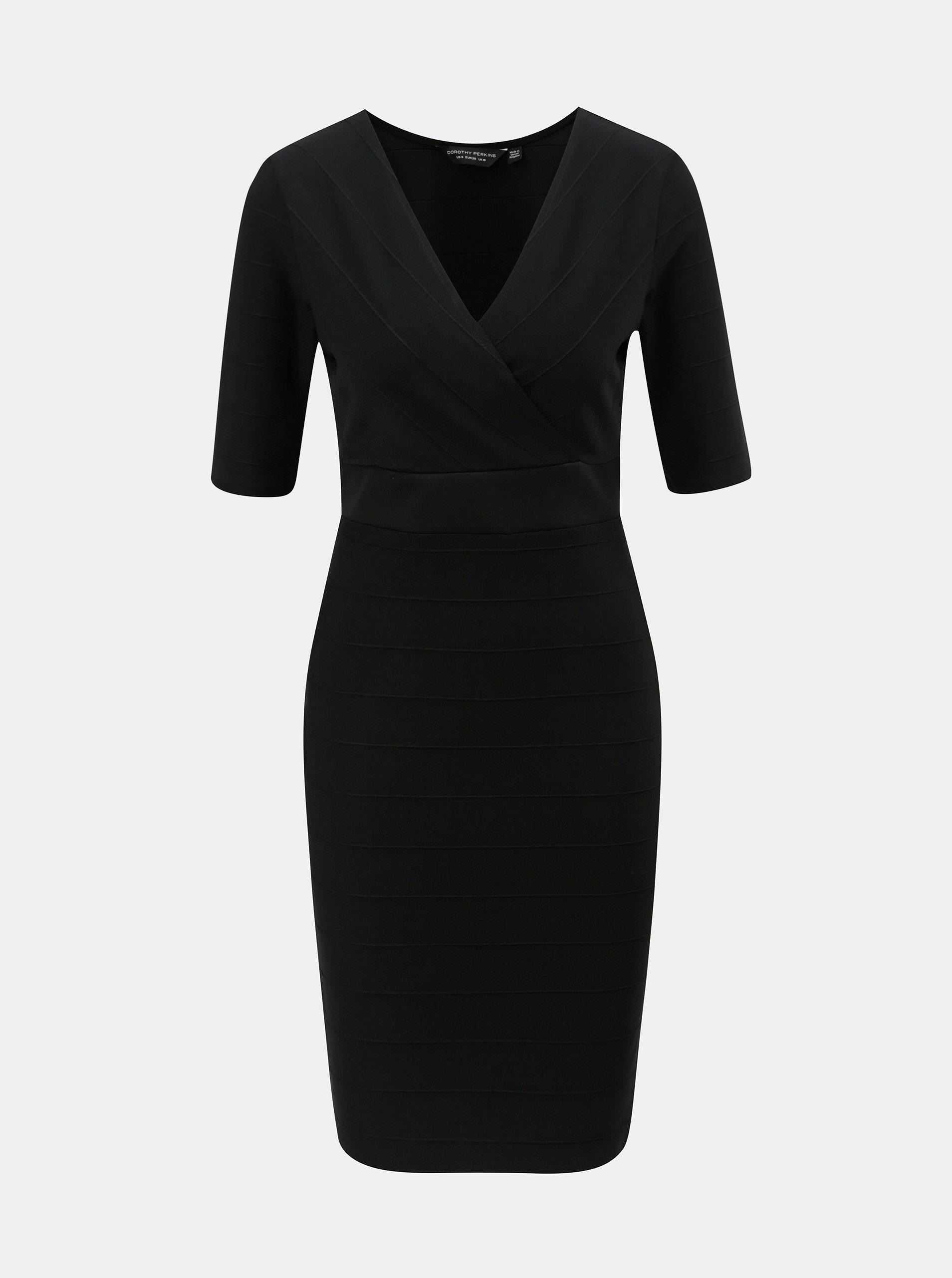 Čierne puzdrové šaty s prekladaným výstrihom Dorothy Perkins ... 84896330f94