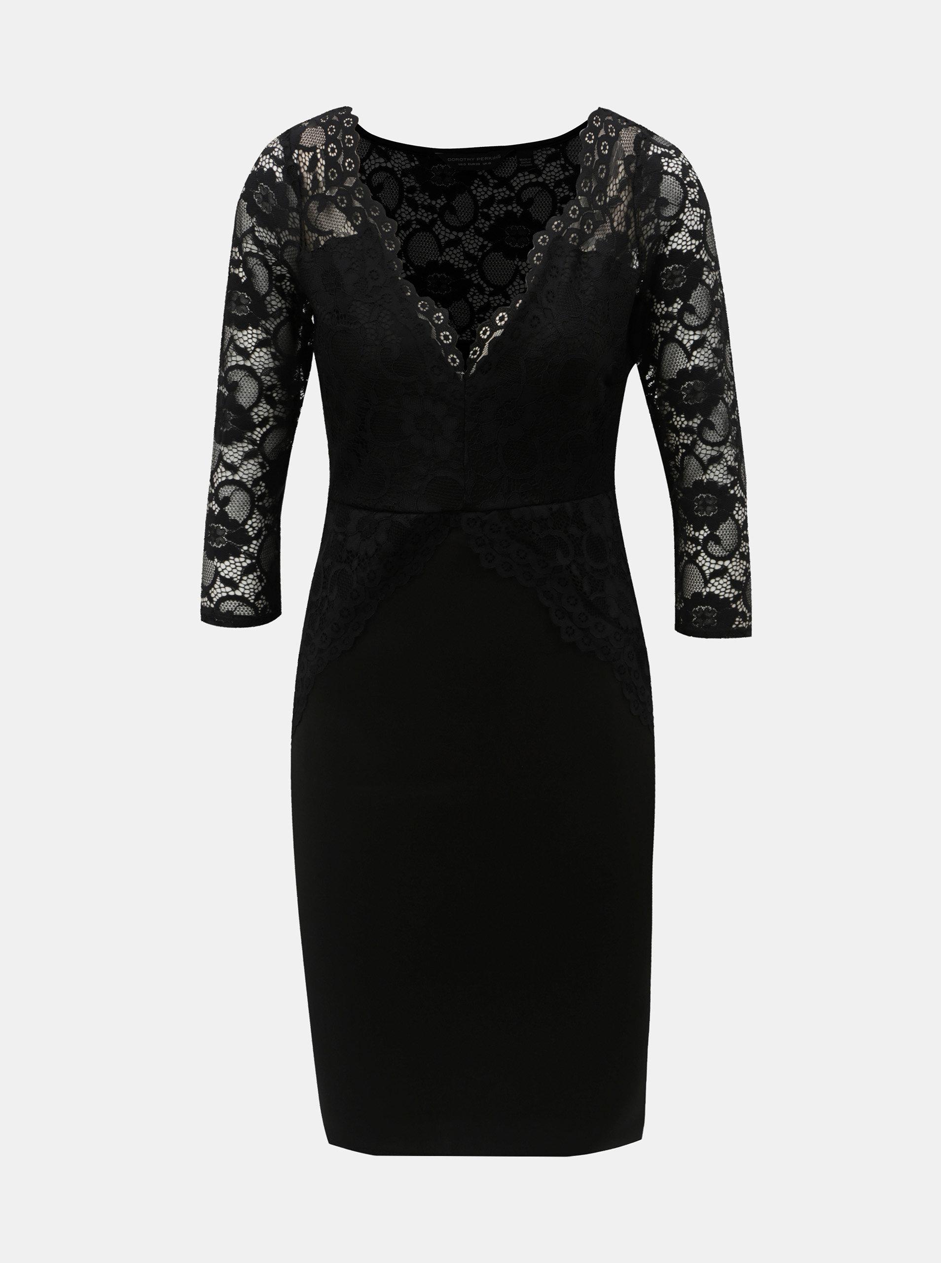 c30852a4e096 Čierne puzdrové šaty s čipkovanými detailmi Dorothy Perkins ...