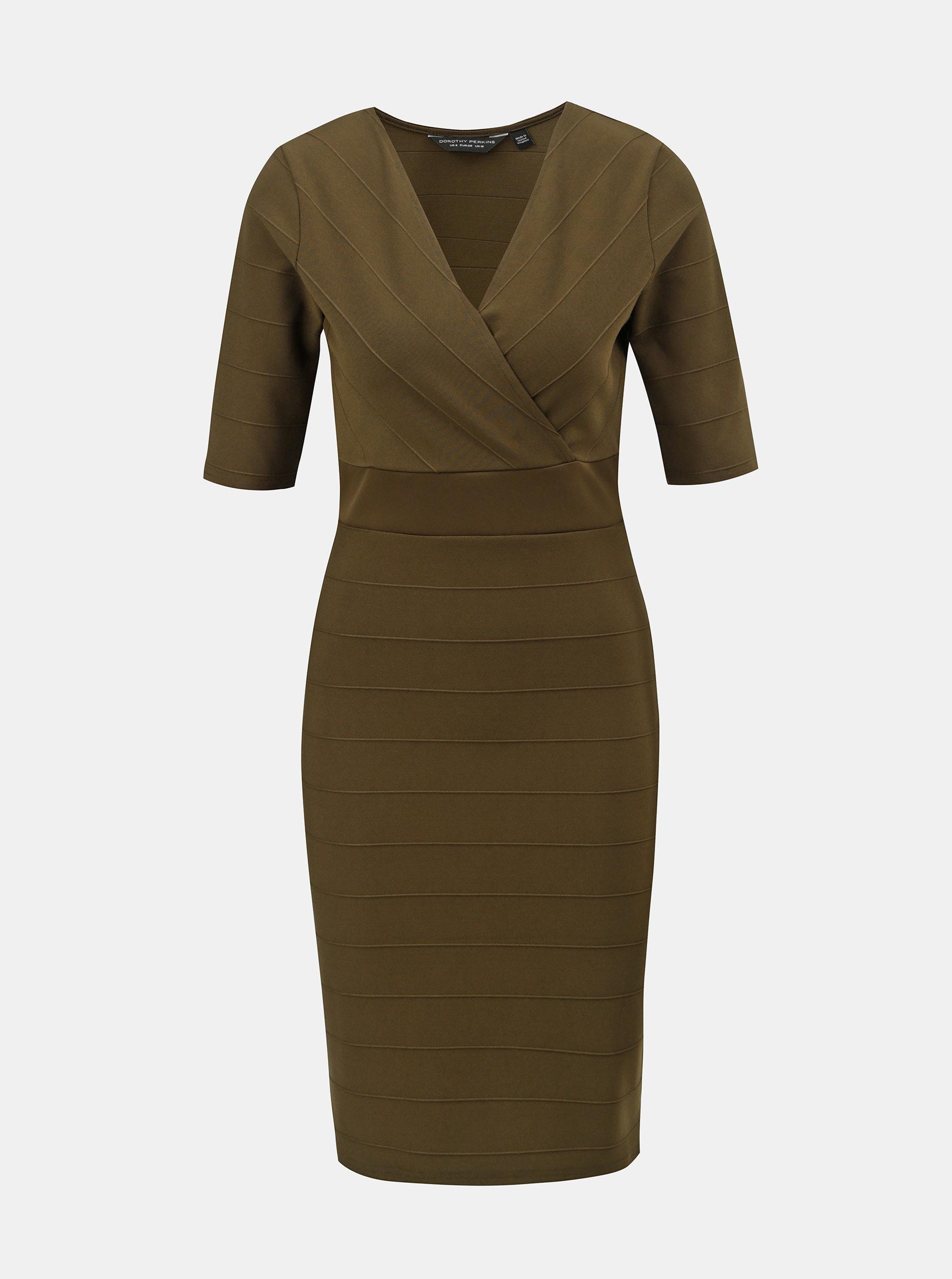 4a7a226ff605 Khaki pouzdrové šaty s překládaným výstřihem Dorothy Perkins ...
