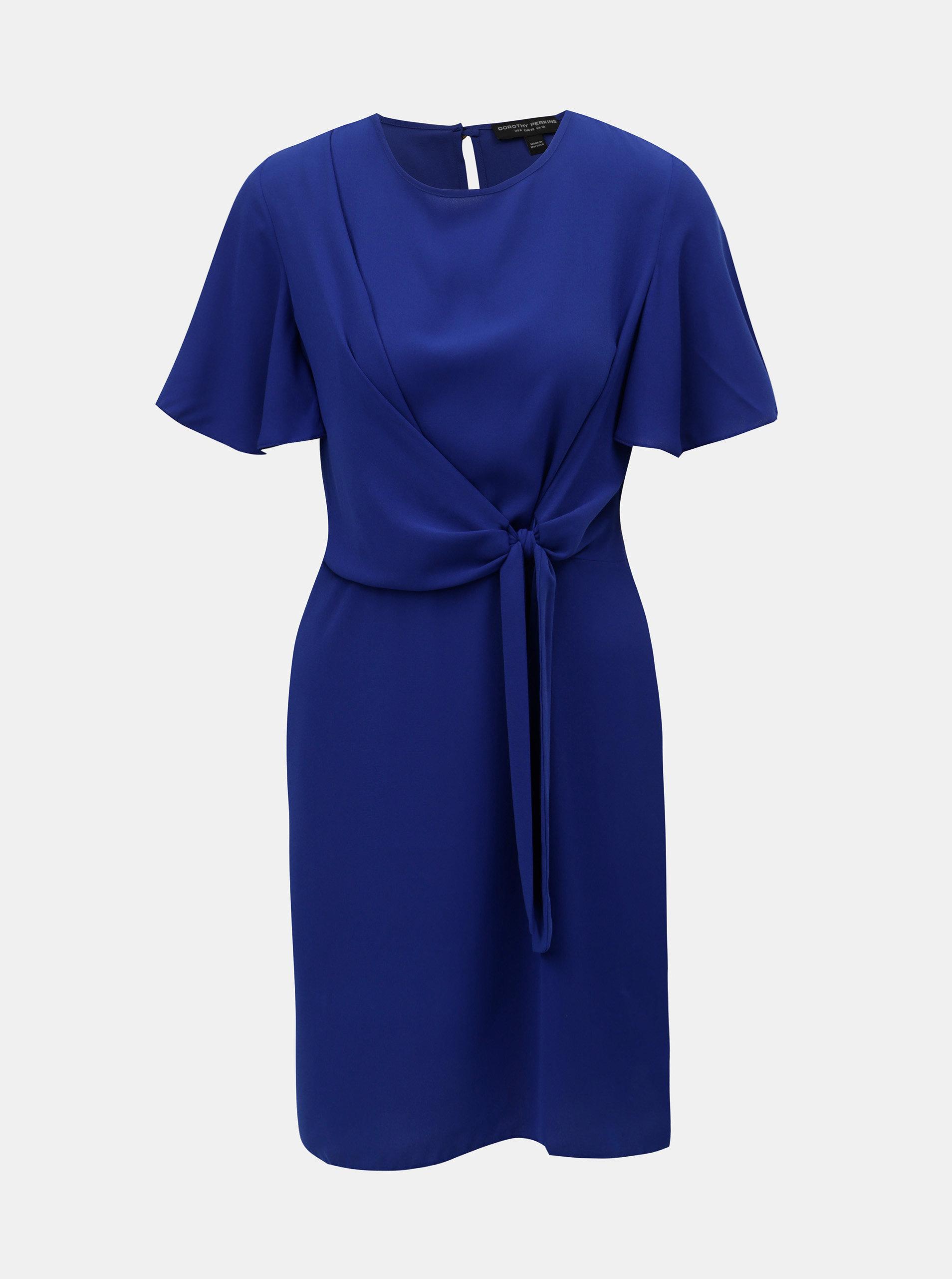 84805545629a Modré šaty so zaväzovaním na boku Dorothy Perkins ...