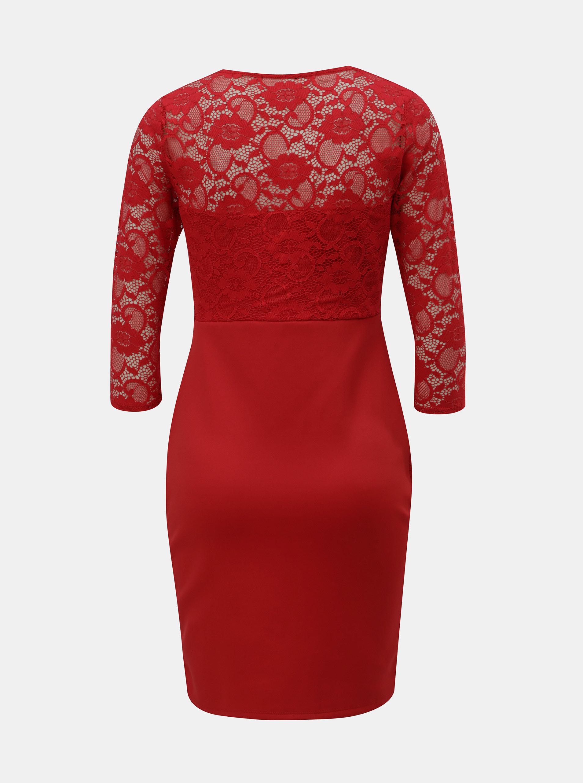 982d4a507eae Červené puzdrové šaty s čipkovanými detailmi Dorothy Perkins ...