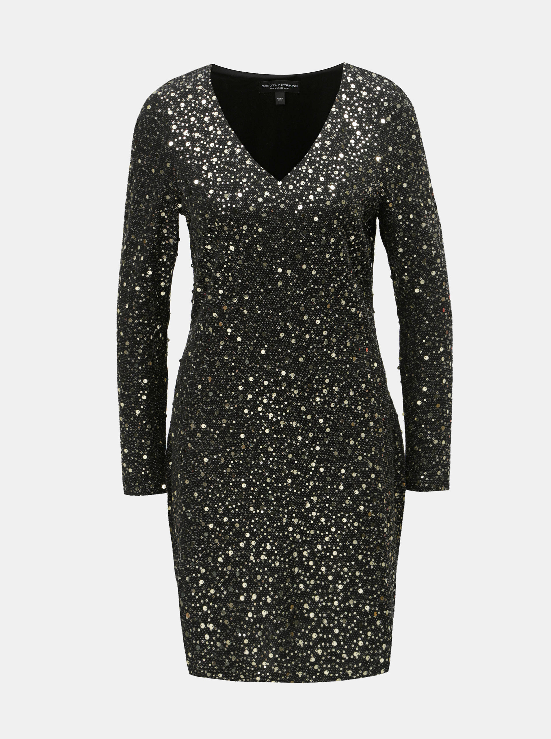 d3753acbc1f6 Čierne puzdrové šaty s flitrami v zlatej farbe Dorothy Perkins ...