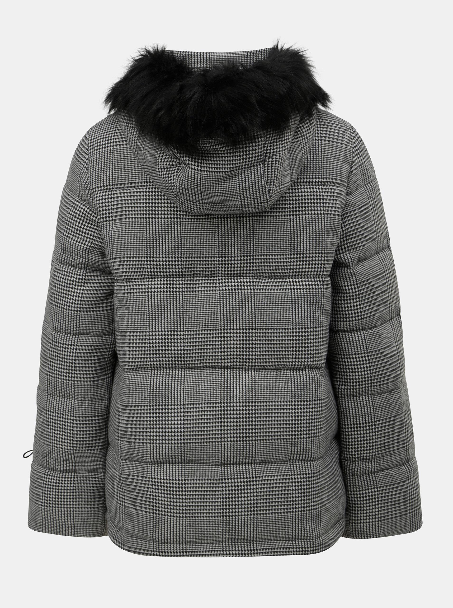 3dcc51d5da9 Šedá prošívaná zimní bunda s umělým kožíškem Dorothy Perkins ...