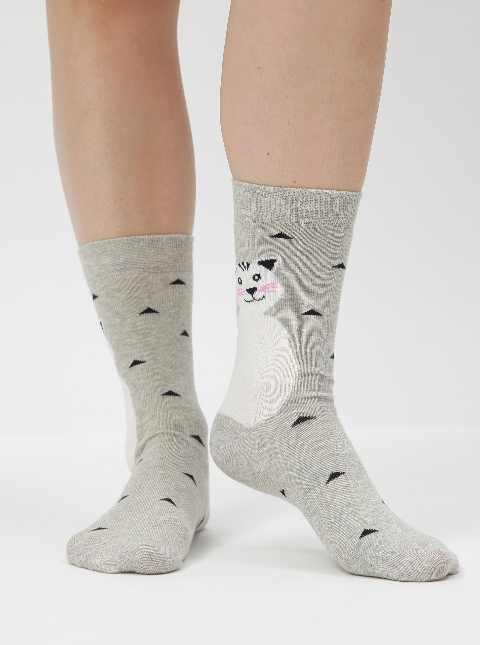 Světle šedé dámské vzorované ponožky s motivem kočky ZOOT ... 277b600123