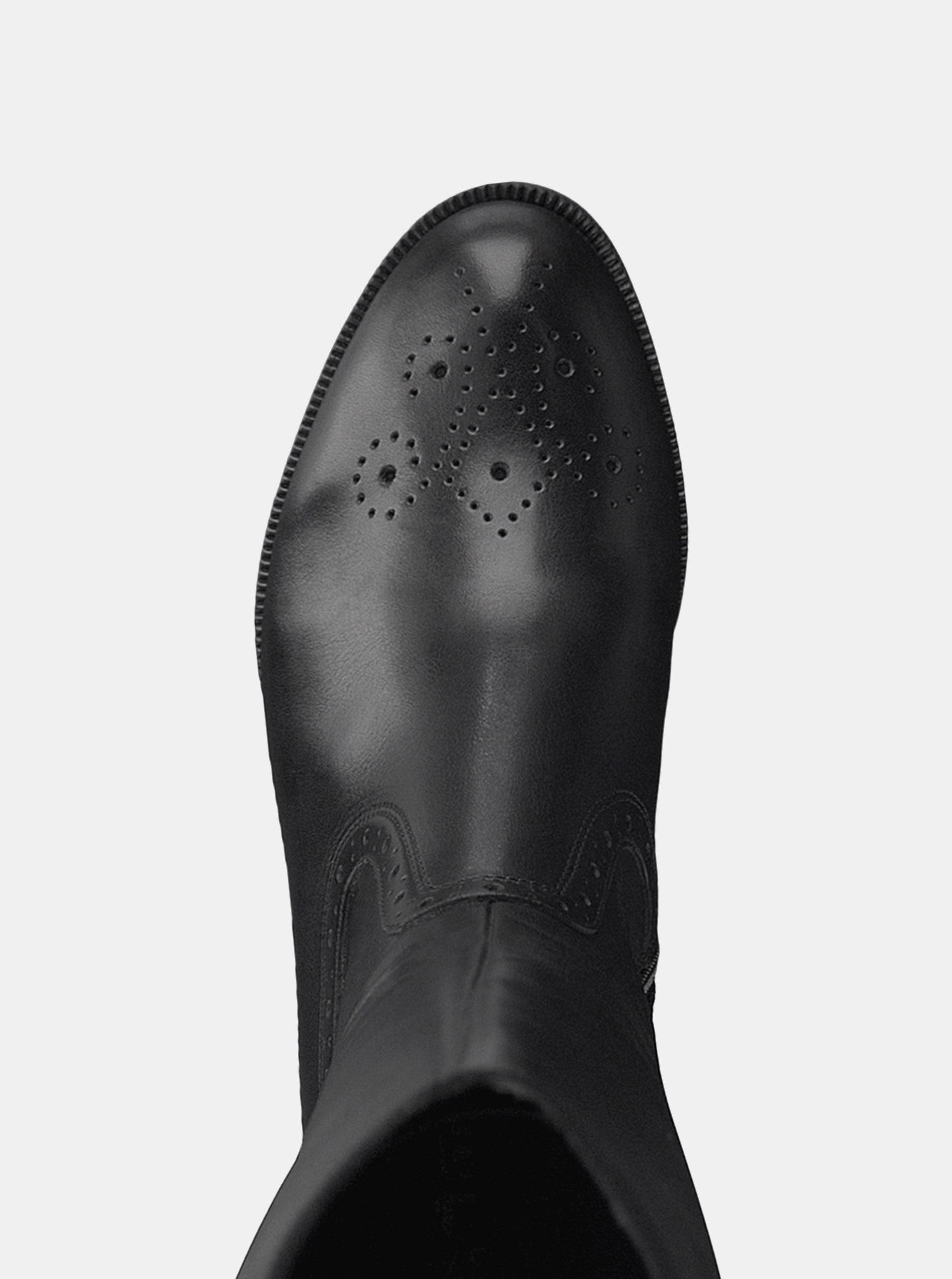 Čierne kožené čižmy s brogue zdobením Tamaris ... ea53d41dcb9