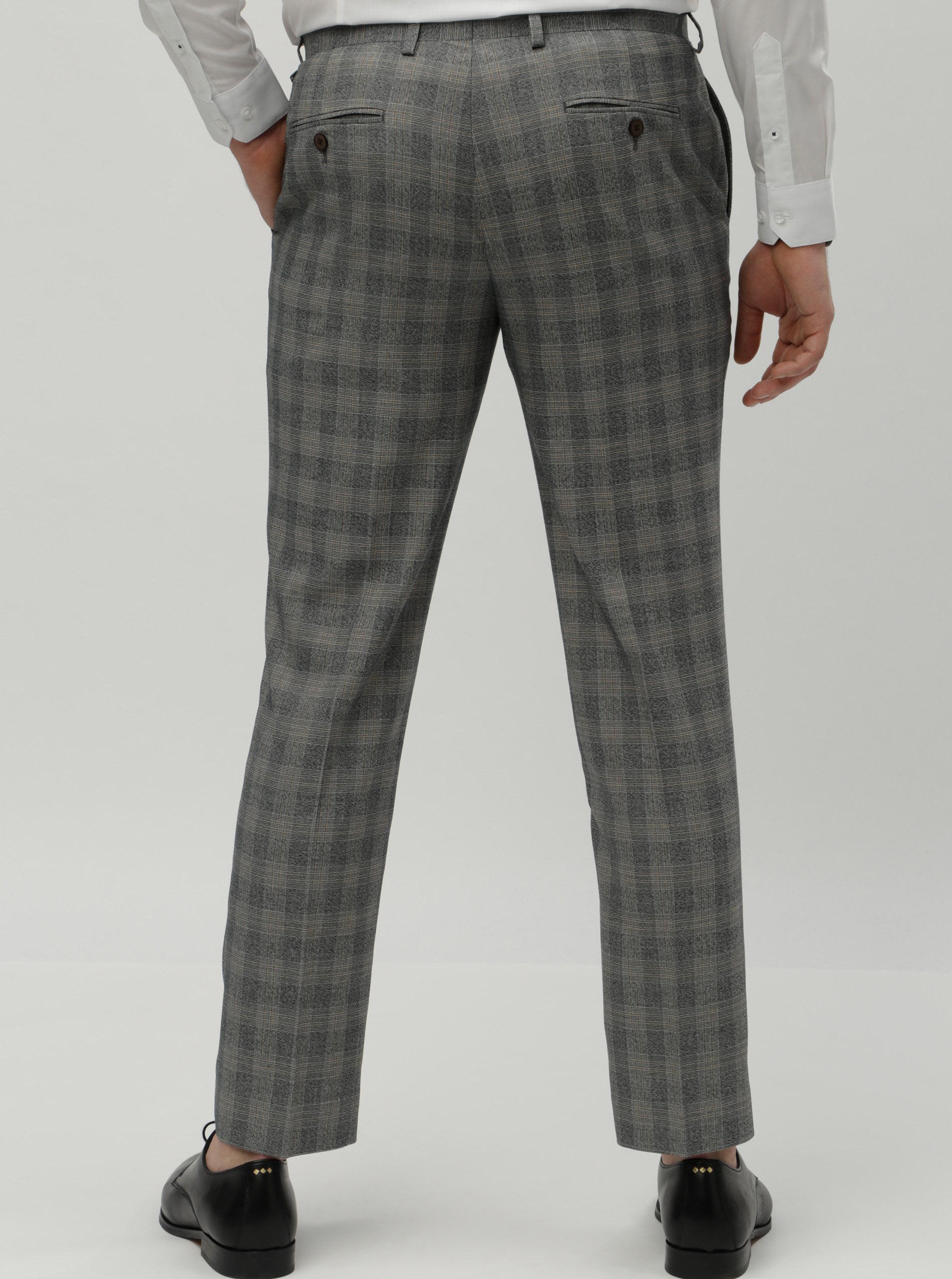 6408fdc087 Sivé kockované slim fit oblekové nohavice Burton Menswear London ...