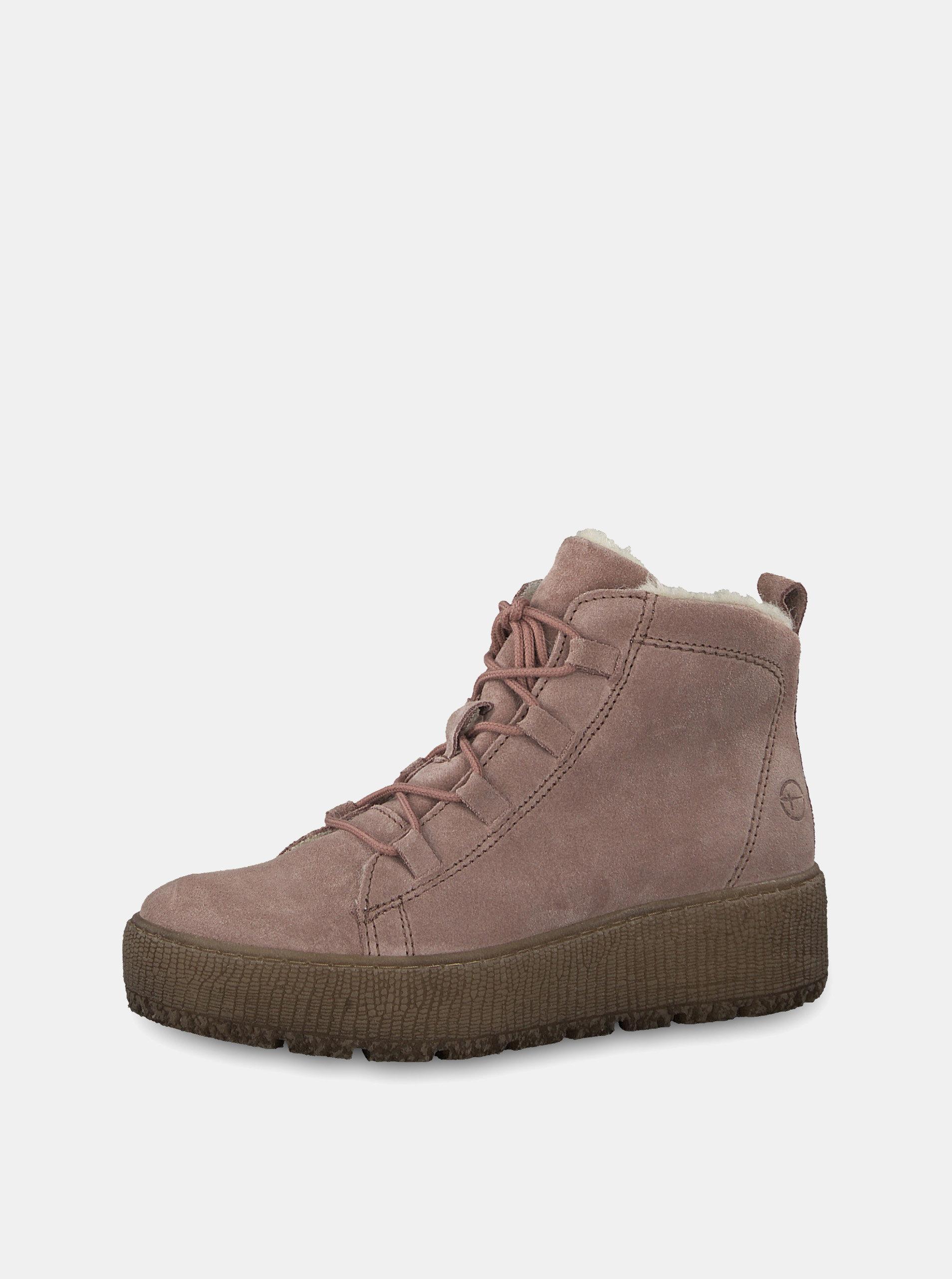 76aae430cc5d Staroružové semišové členkové zimné topánky na platforme Tamaris ...