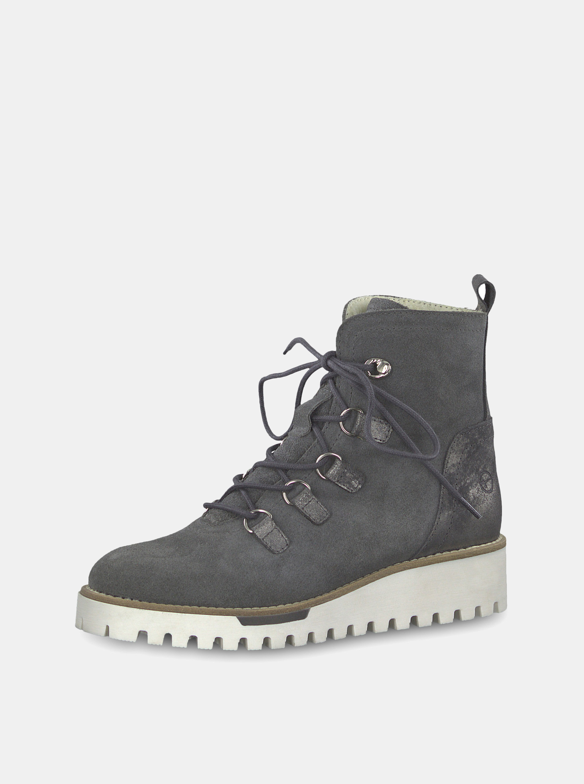 e4bec49bf7d5 Šedé semišové kotníkové zimní boty s vlněnou podšívkou Tamaris ...
