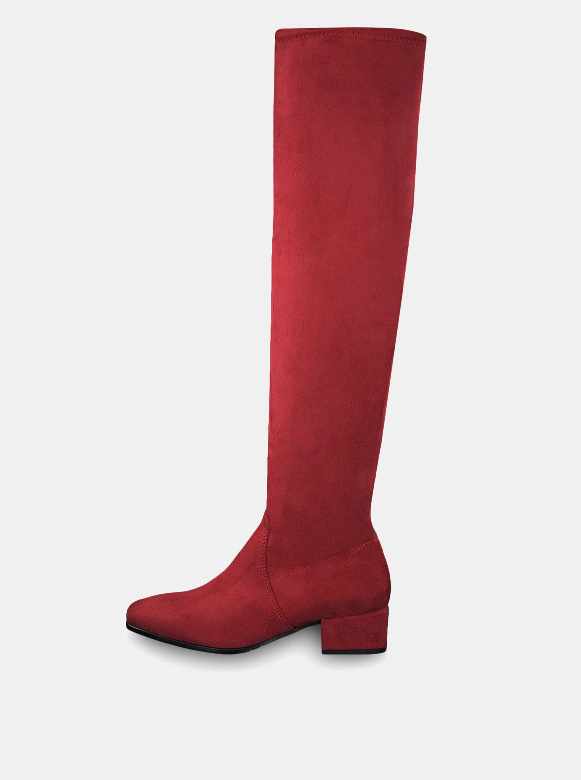 Červené vysoké čižmy v semišovej úprave Tamaris ... e4006d72024