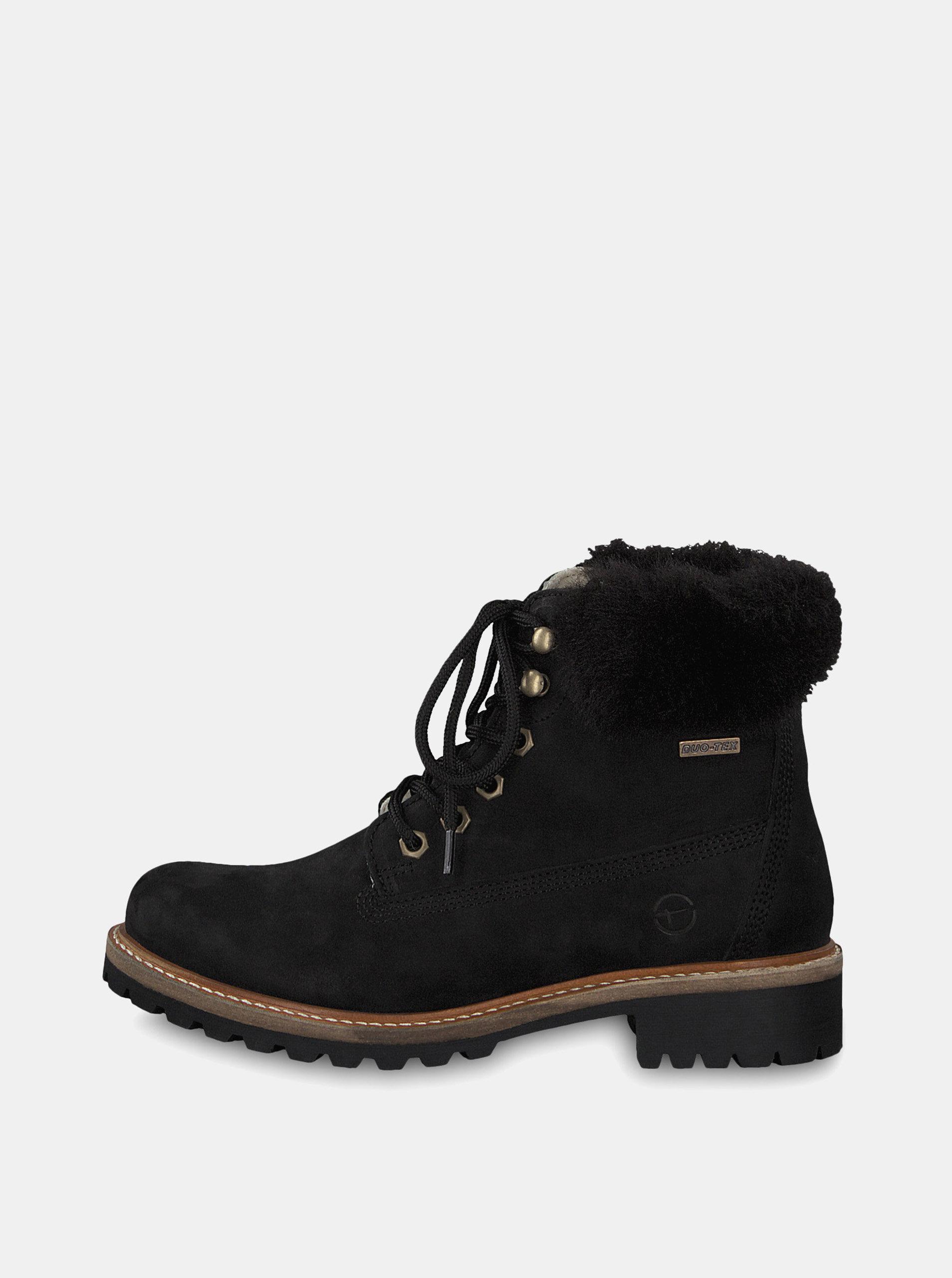 Čierne kožené členkové nepremokavé zimné topánky s vlnenou podšívkou  Tamaris ... a2a0ee1644b