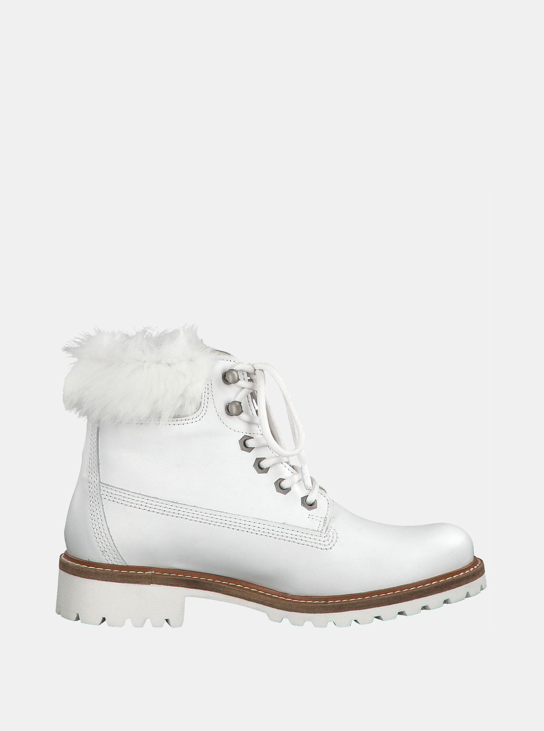 34a8a5a49596 Biele kožené členkové nepremokavé zimné topánky s vlnenou podšívkou Tamaris  ...
