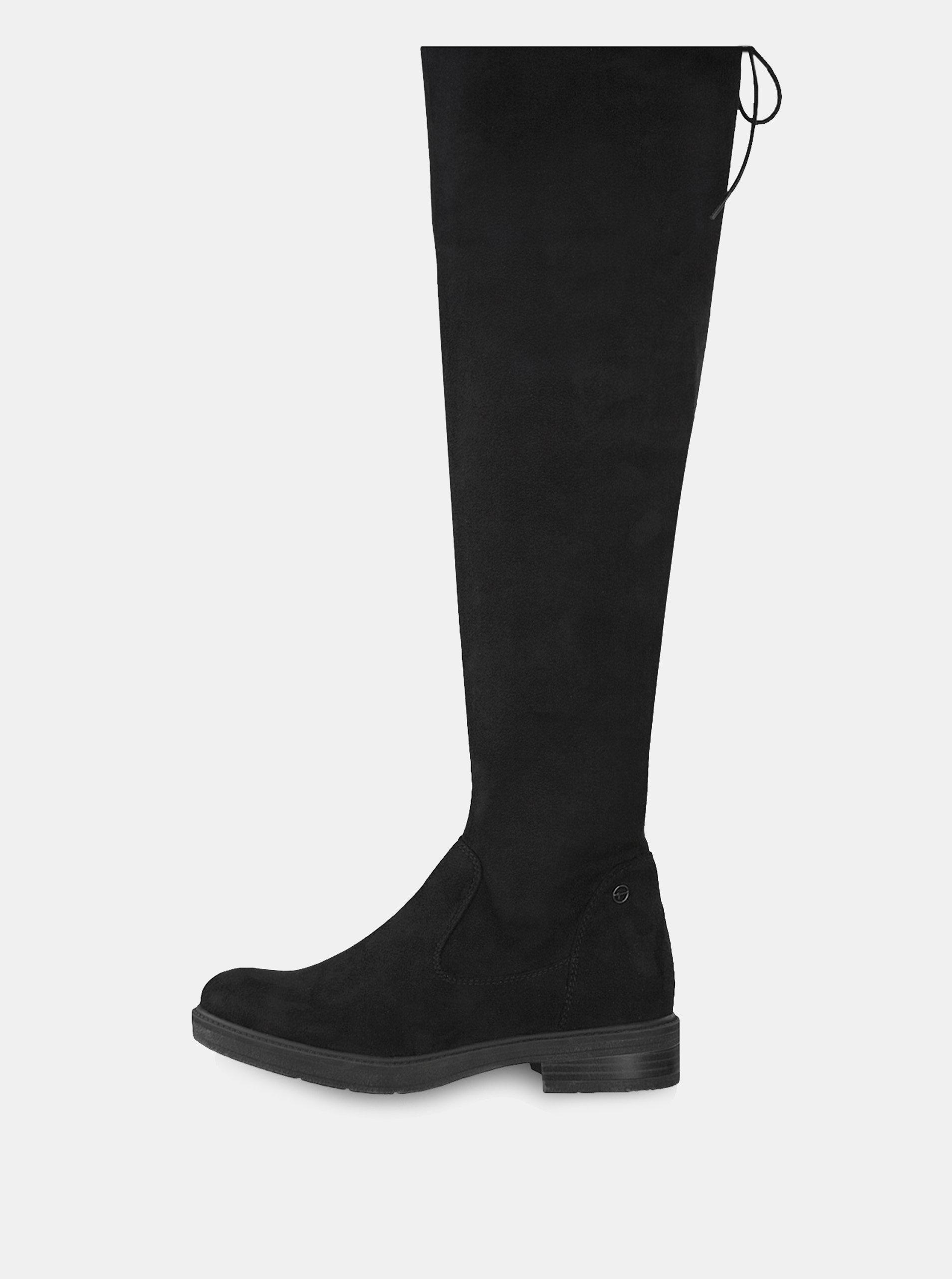b1eee9968e88c Čierne vysoké čižmy v semišovej úprave Tamaris | ZOOT.sk