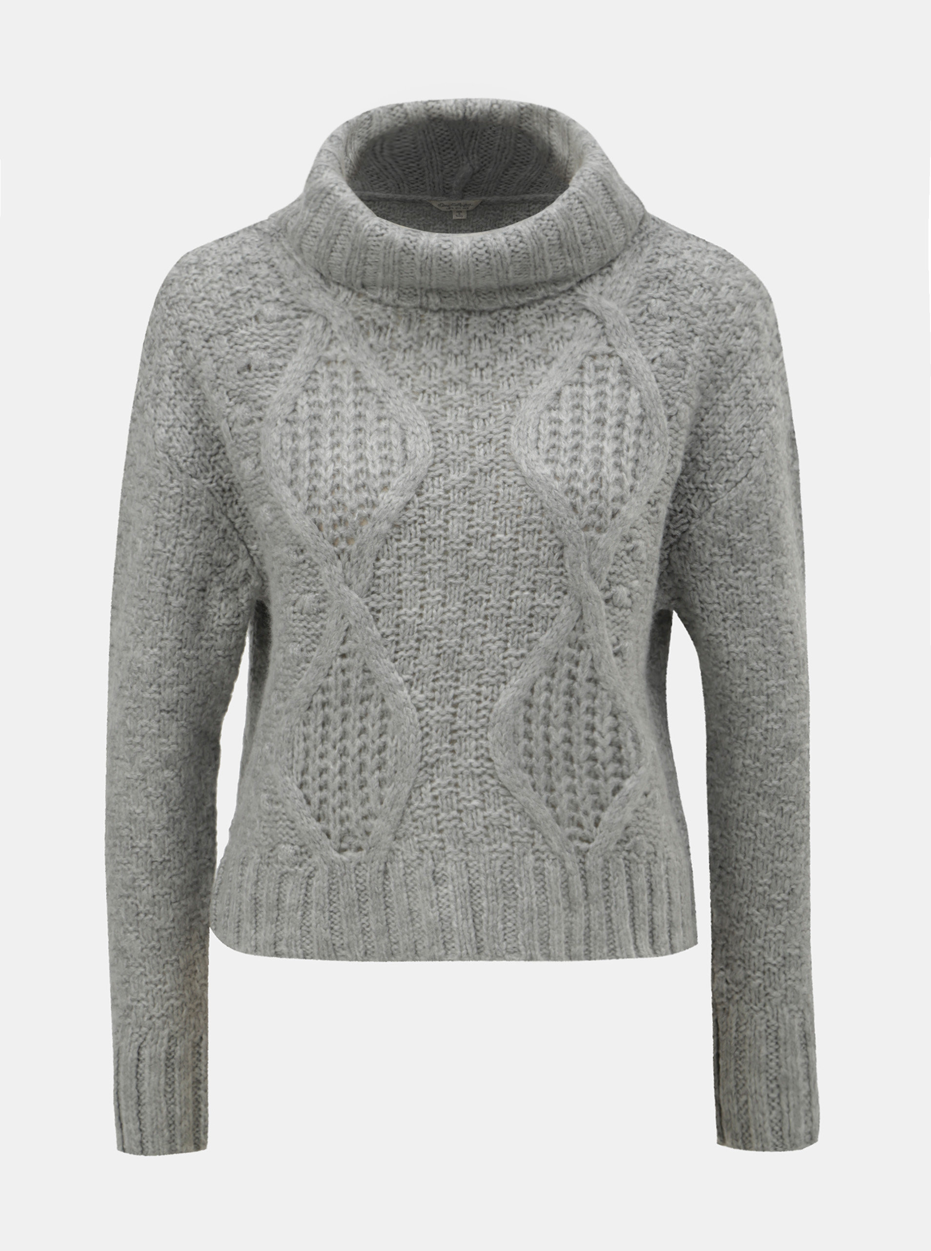 Šedý krátký svetr s rolákem Miss Selfridge ... e089387369