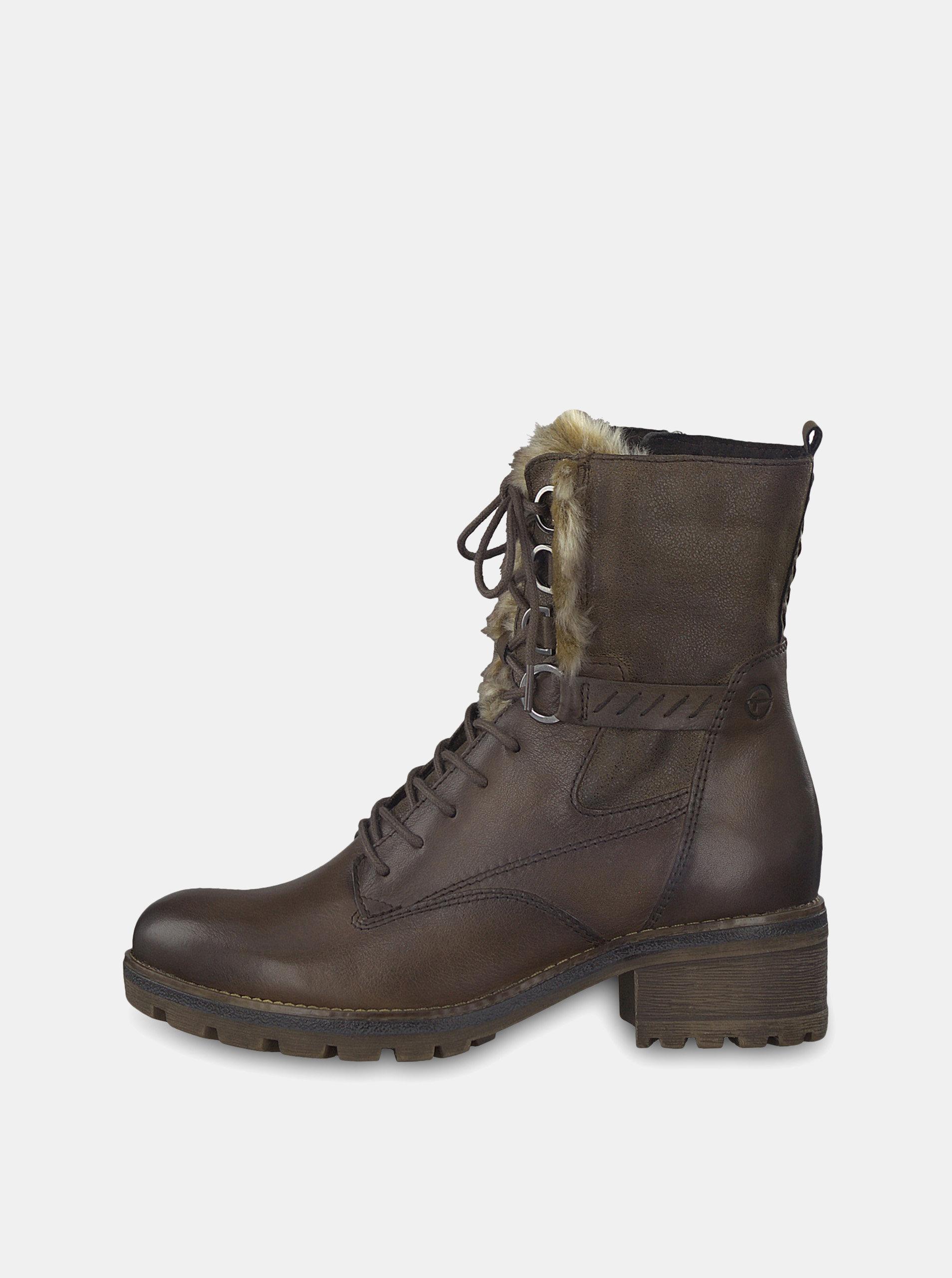4a373723126d Tmavohnedé kožené členkové topánky so zateplenou podšívkou Tamaris ...