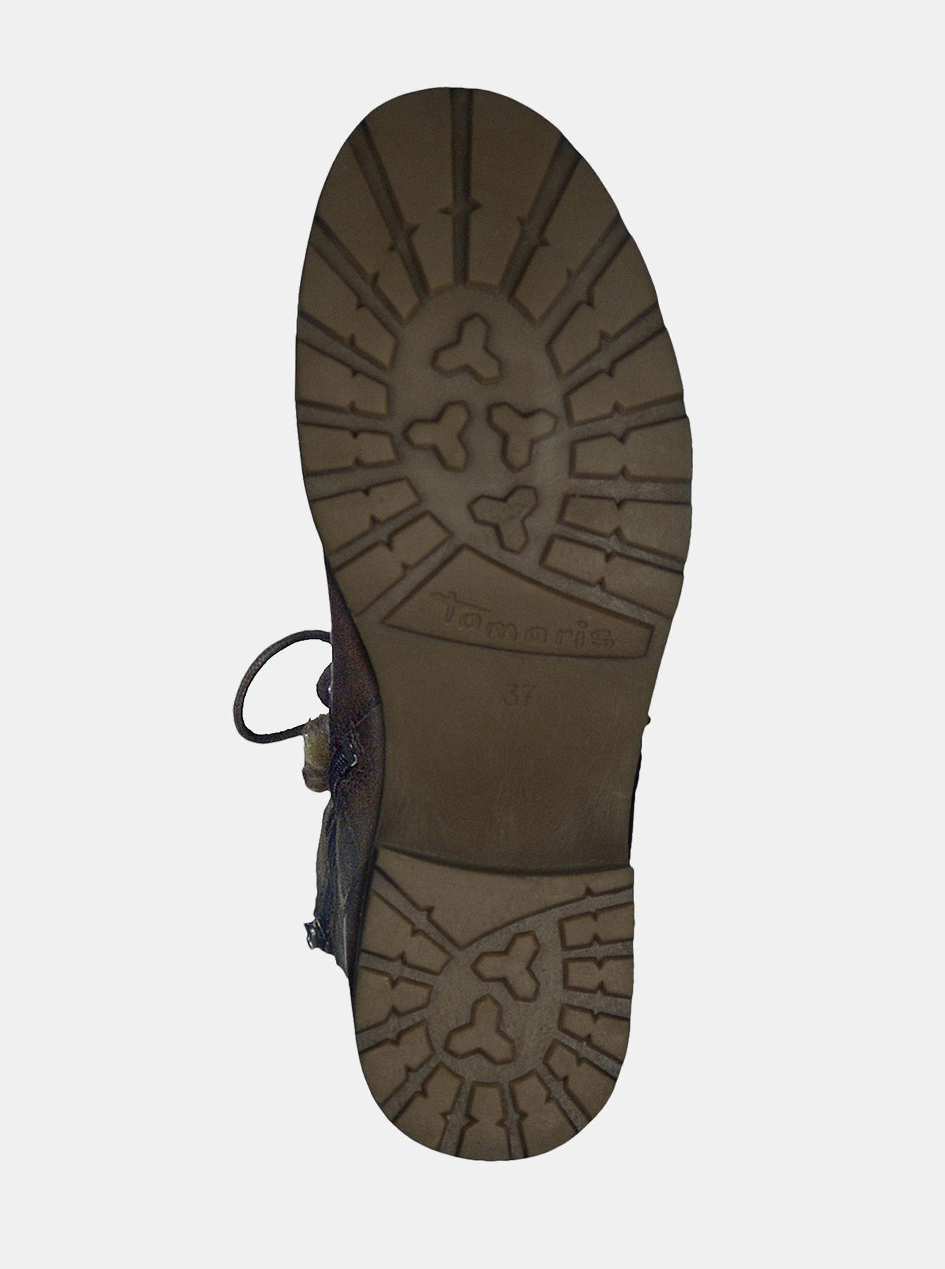 50495cb75 Tmavohnedé kožené členkové topánky so zateplenou podšívkou Tamaris ...