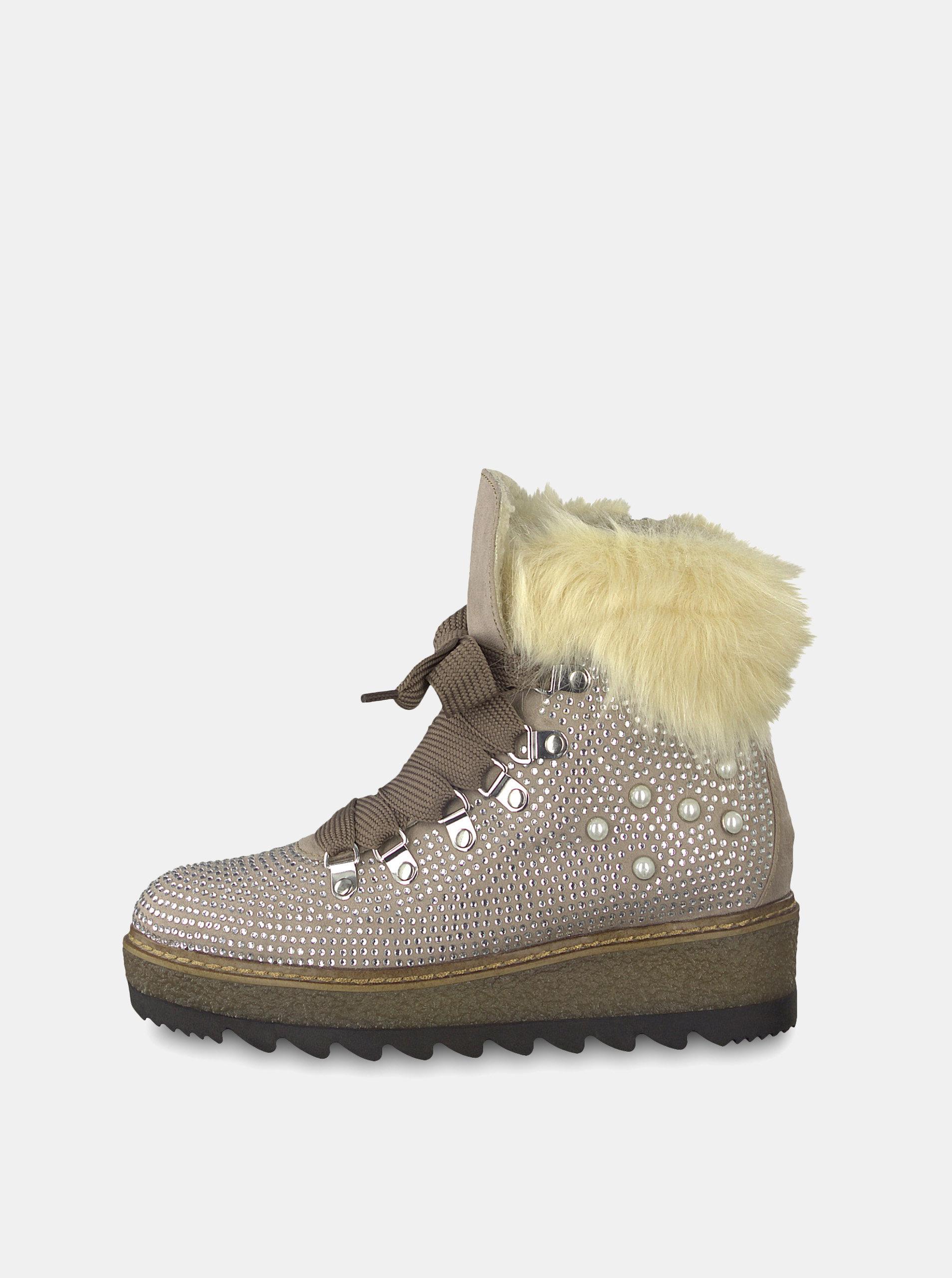 307add9365 Béžové zimní boty v semišové úpravě na platformě s ozdobnými kamínky  Tamaris ...