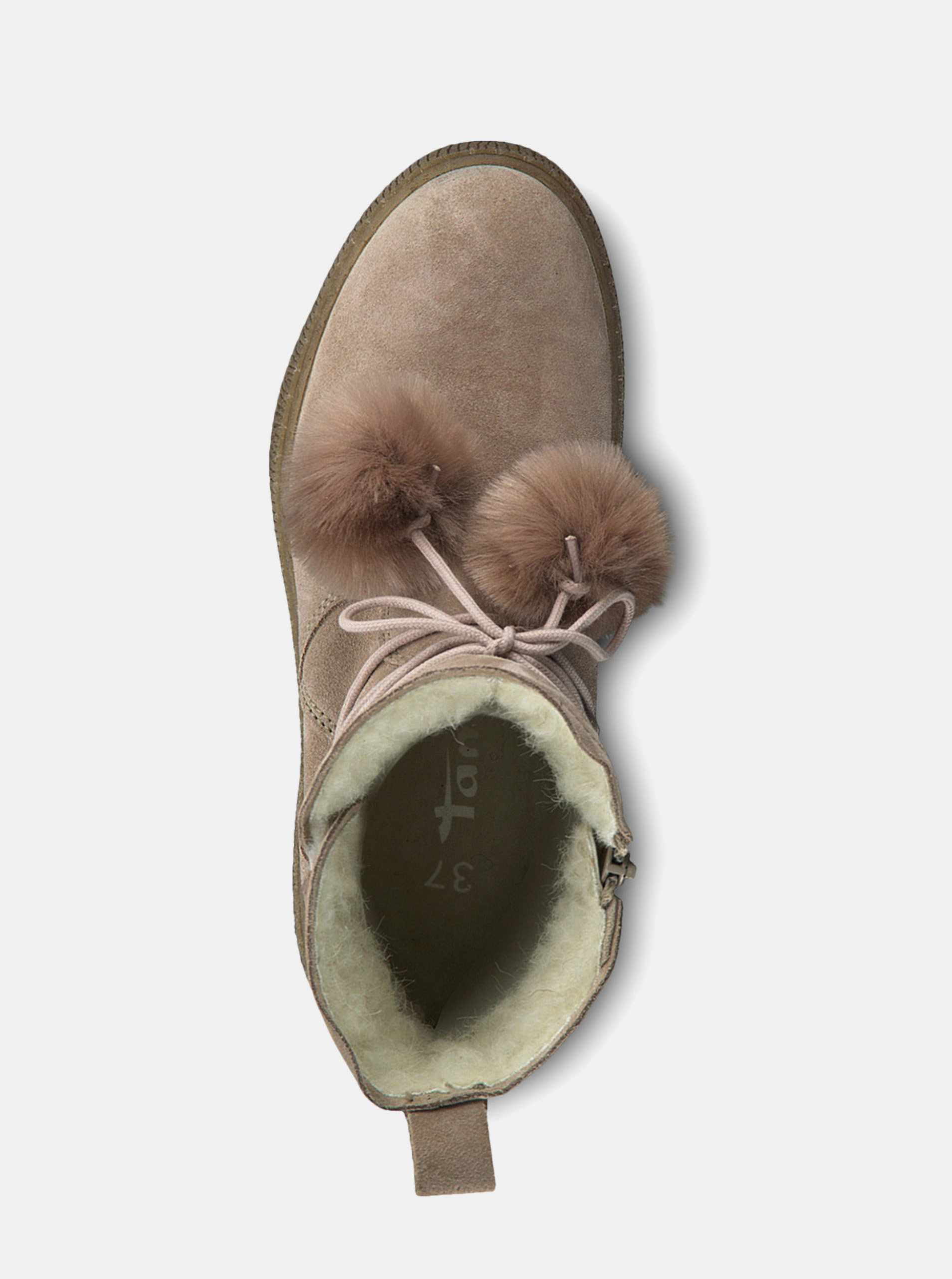 c7cb3e4399 Béžové semišové členkové zimné topánky na platforme Tamaris ...