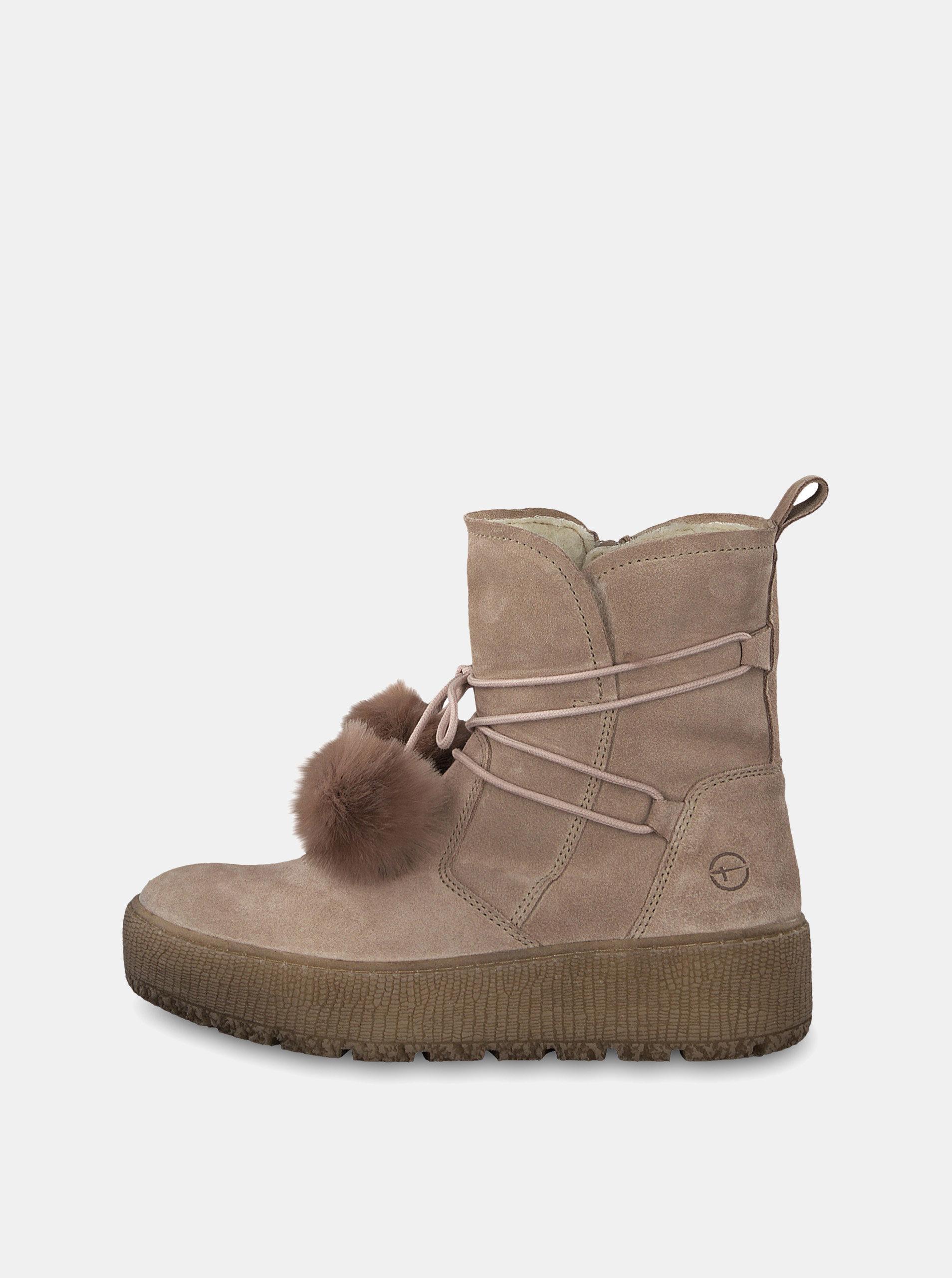 978b2975a63a Béžové semišové členkové zimné topánky na platforme Tamaris ...