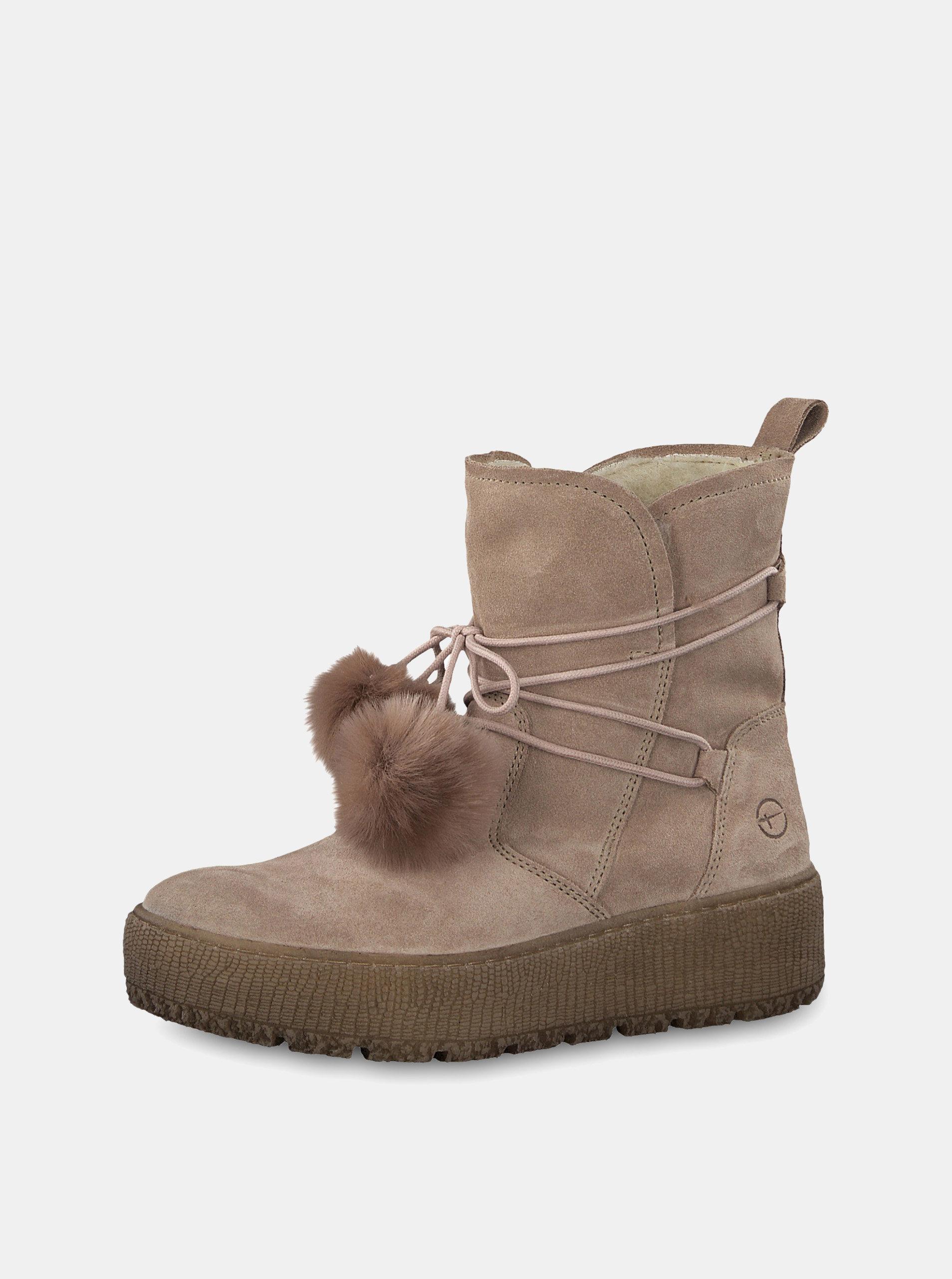 8c335f2e964 Béžové semišové kotníkové zimní boty na platformě Tamaris ...