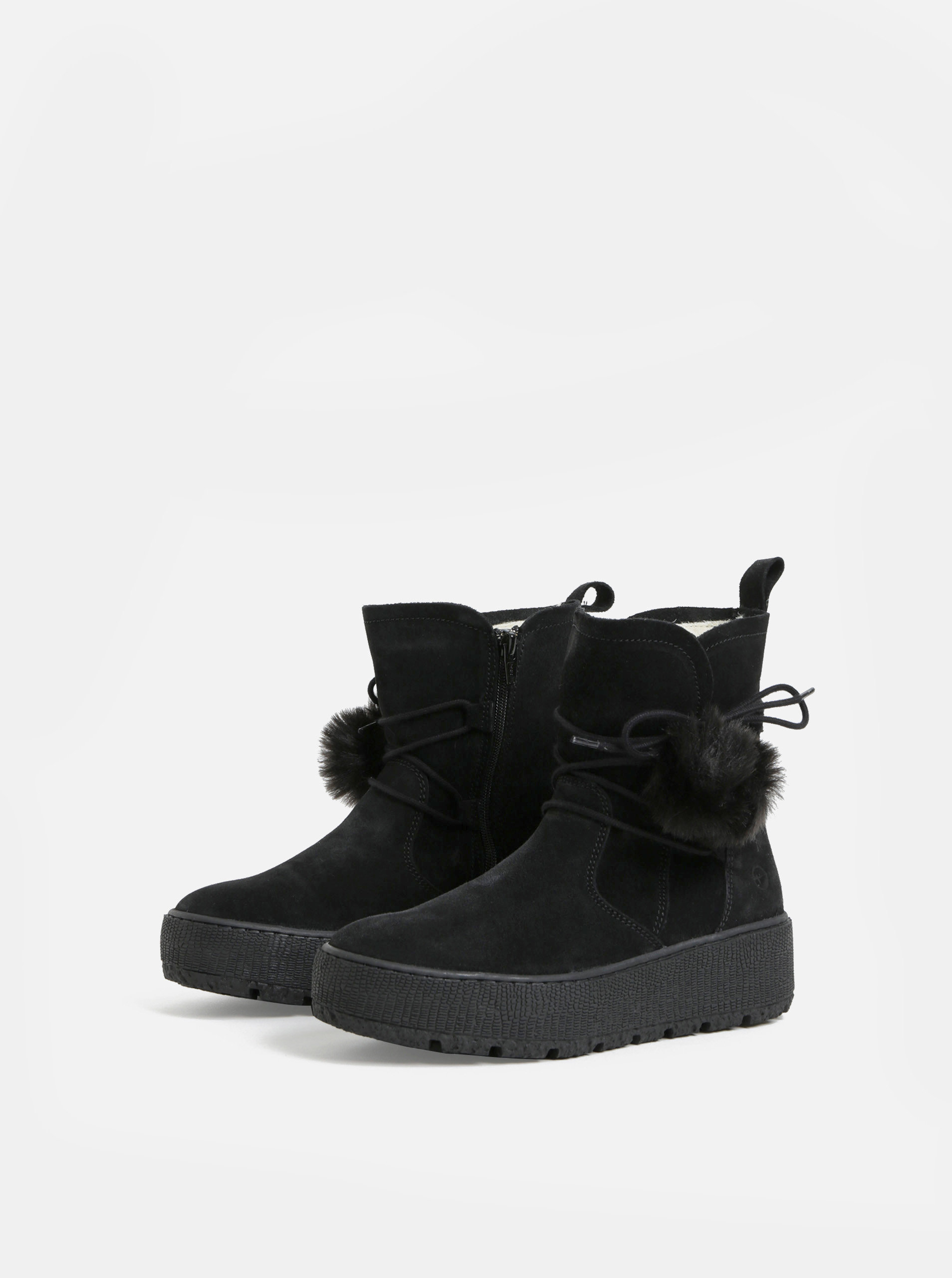 d50364e7d115 Čierne semišové členkové zimné topánky na platforme Tamaris ...