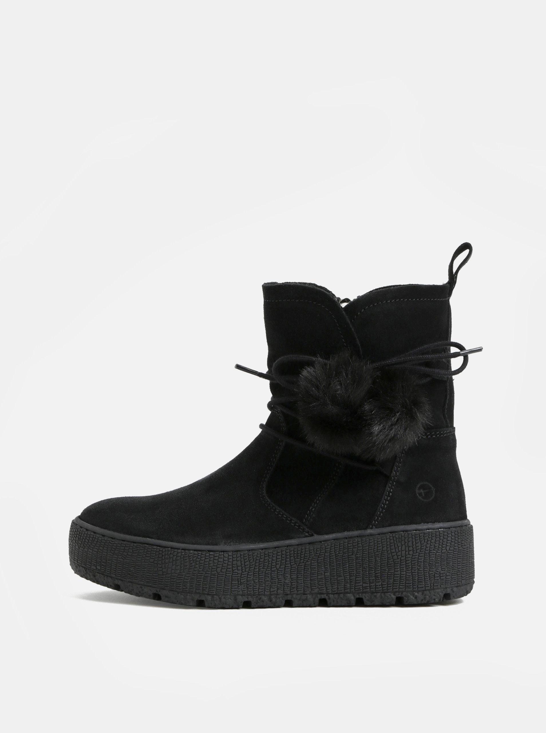 4e30209fc4d Černé semišové kotníkové zimní boty na platformě Tamaris ...
