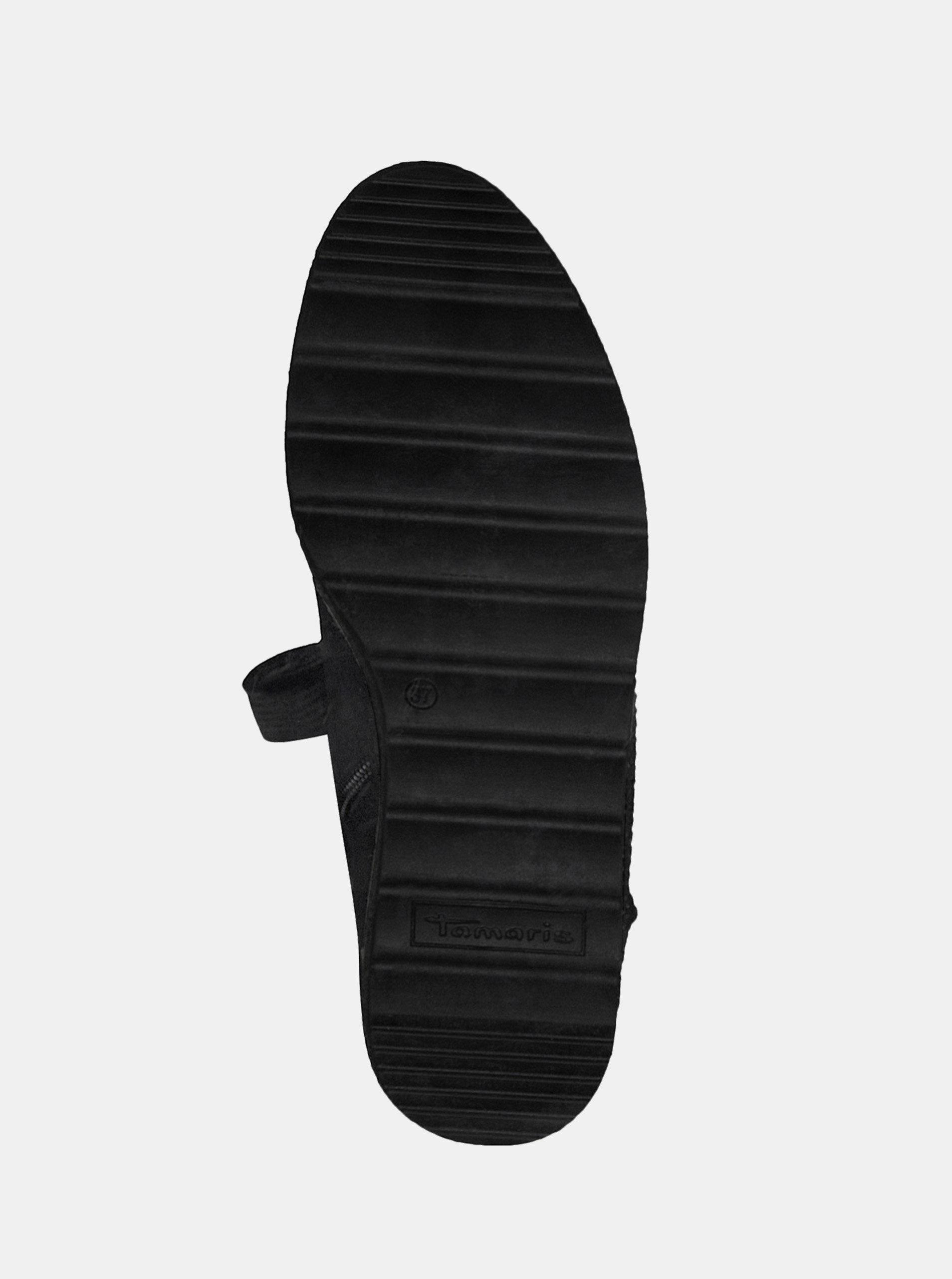 Čierne zimné topánky v semišovej úprave na platforme s ozdobnými kamienkami  Tamaris ... 38985c0b7dc