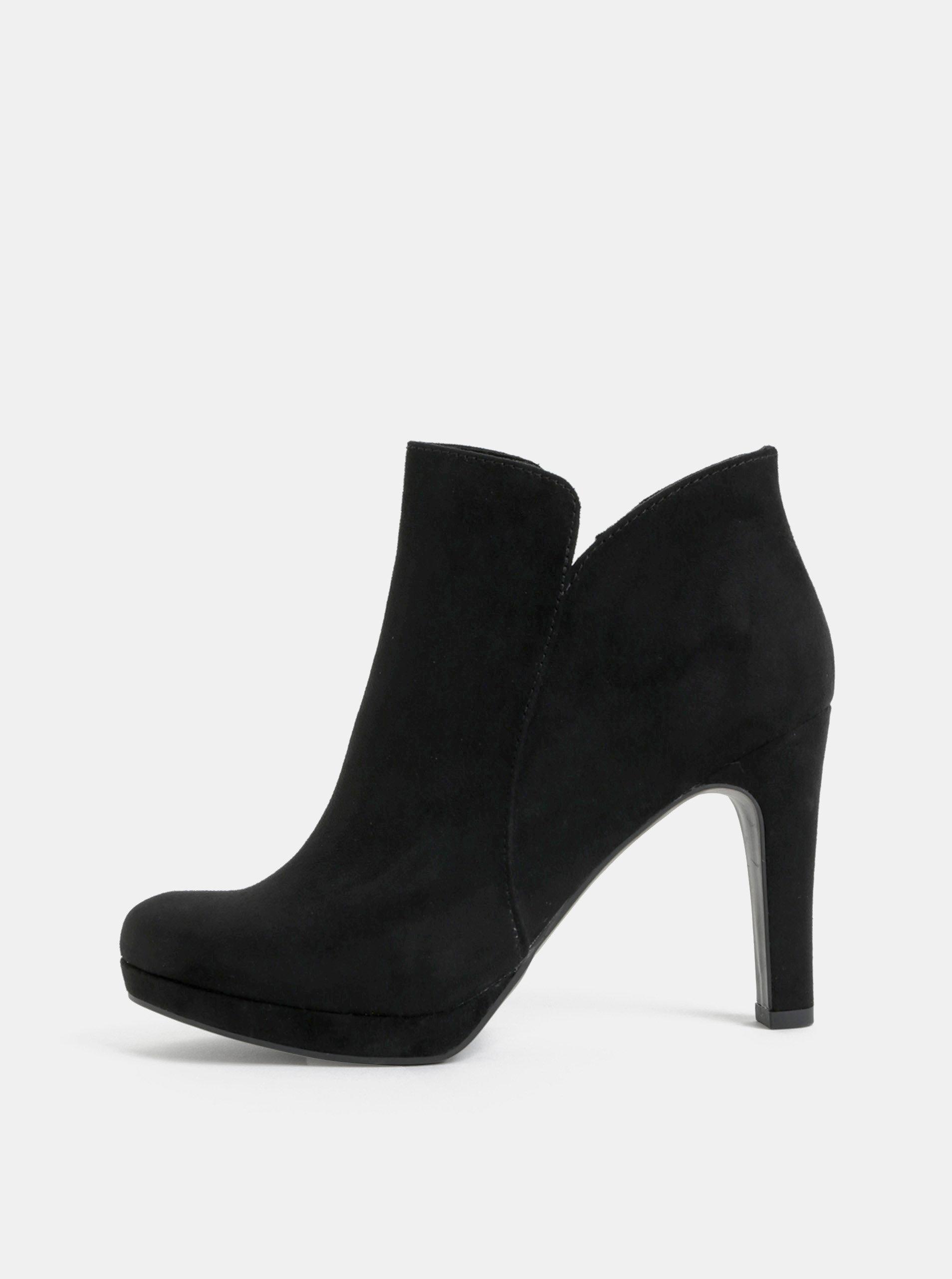 da791f285d16 Čierne členkové topánky v semišovej úprave na vysokom podpätku Tamaris ...