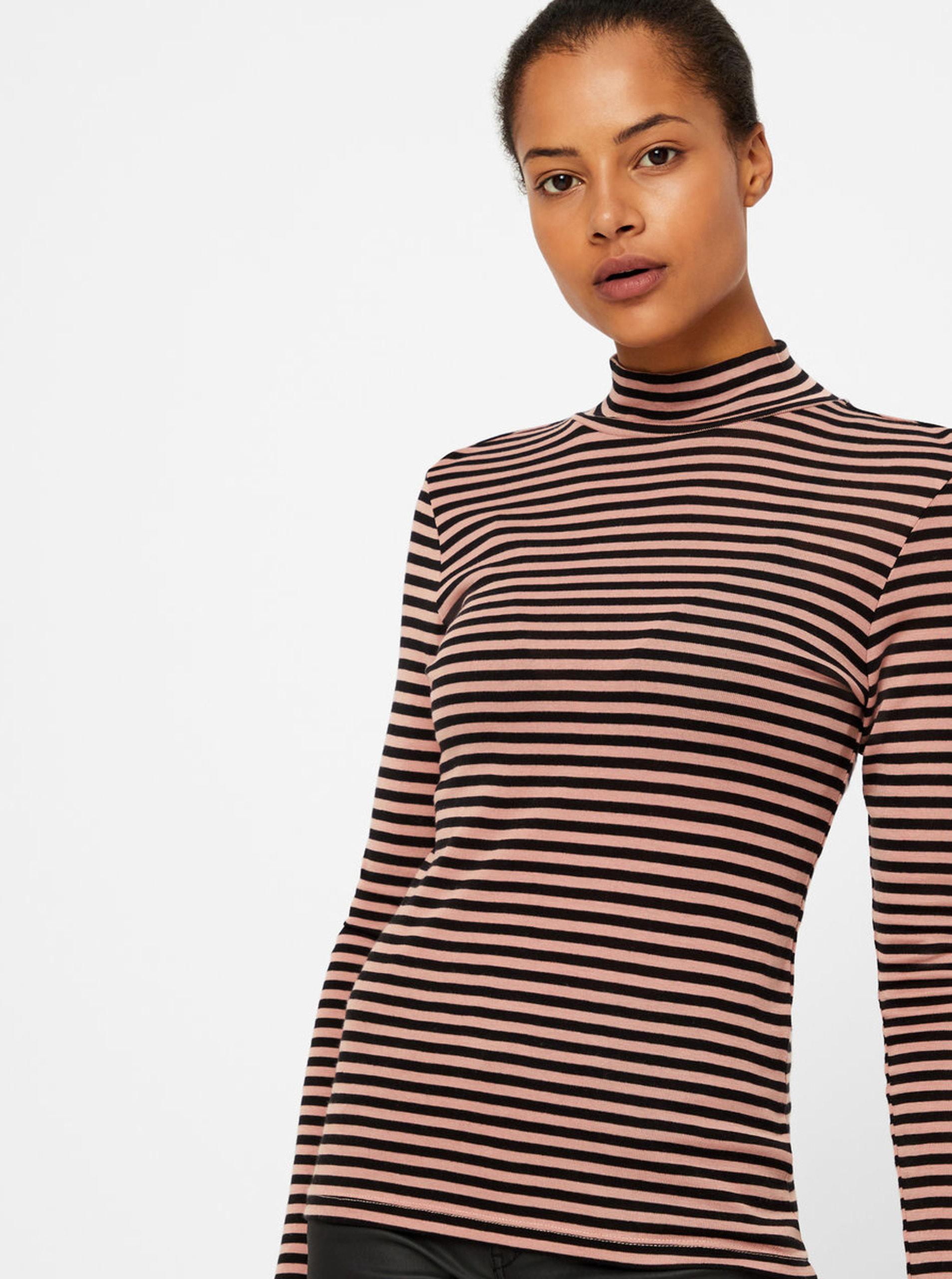 dc2835c2bd94 Ružovo-čierne pruhované basic tričko so stojačikom VERO MODA Vita ...