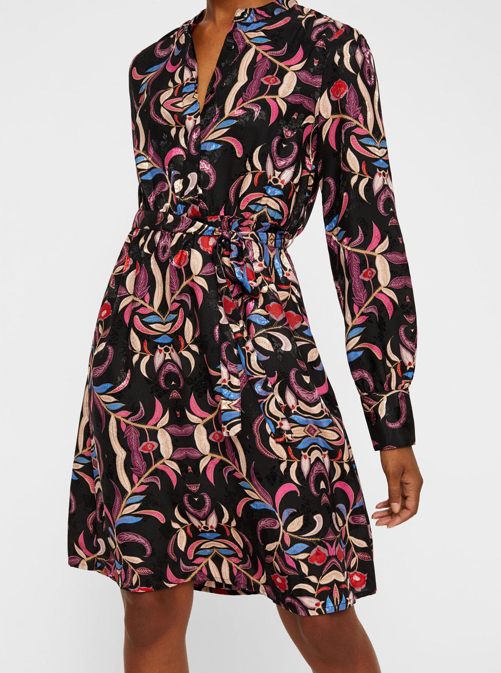 Černé květované šaty s páskem VERO MODA Gyana ... 70832e71a3