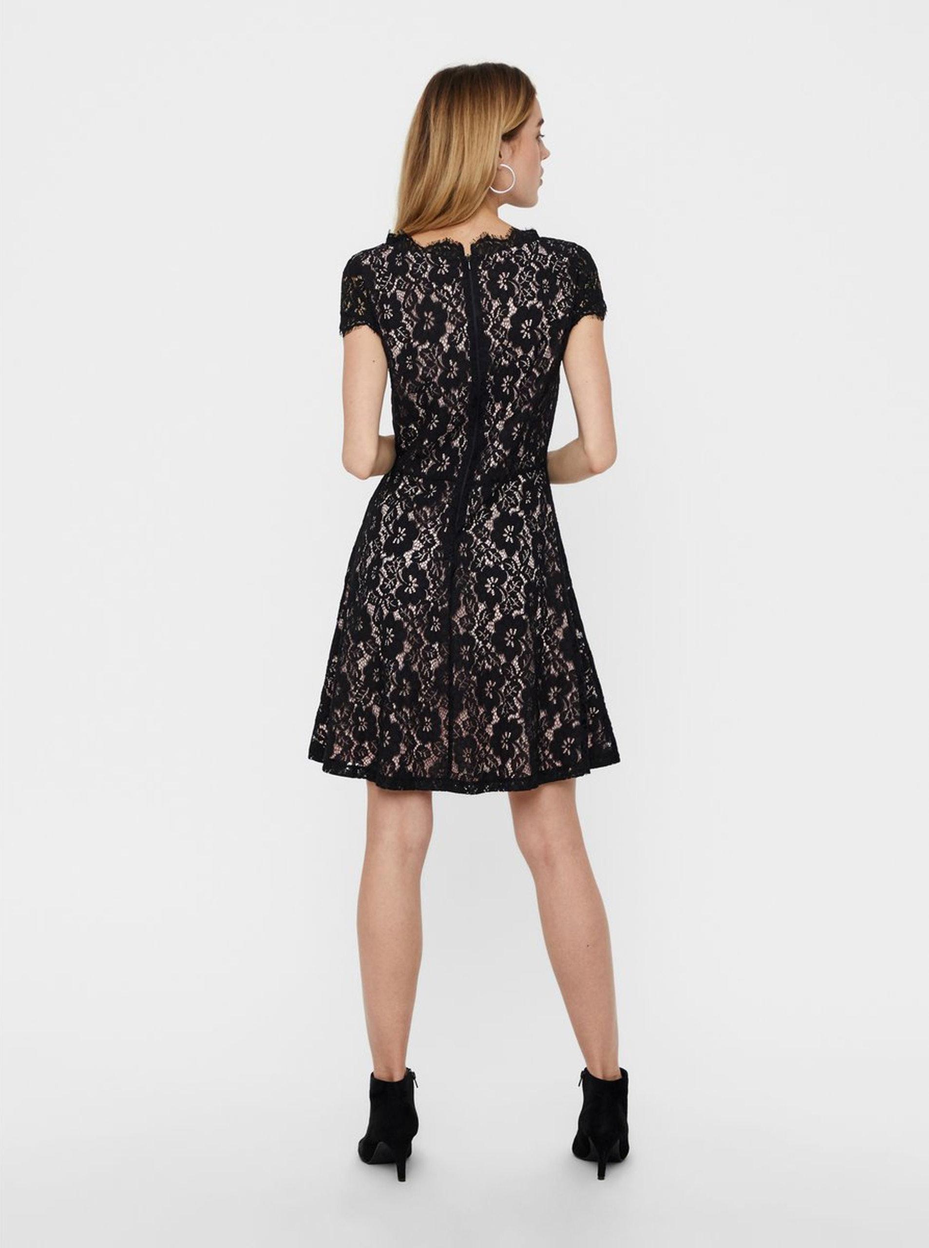 e17276f7ee19 Růžovo-černé krajkové šaty s krátkým rukávem VERO MODA Jackie ...