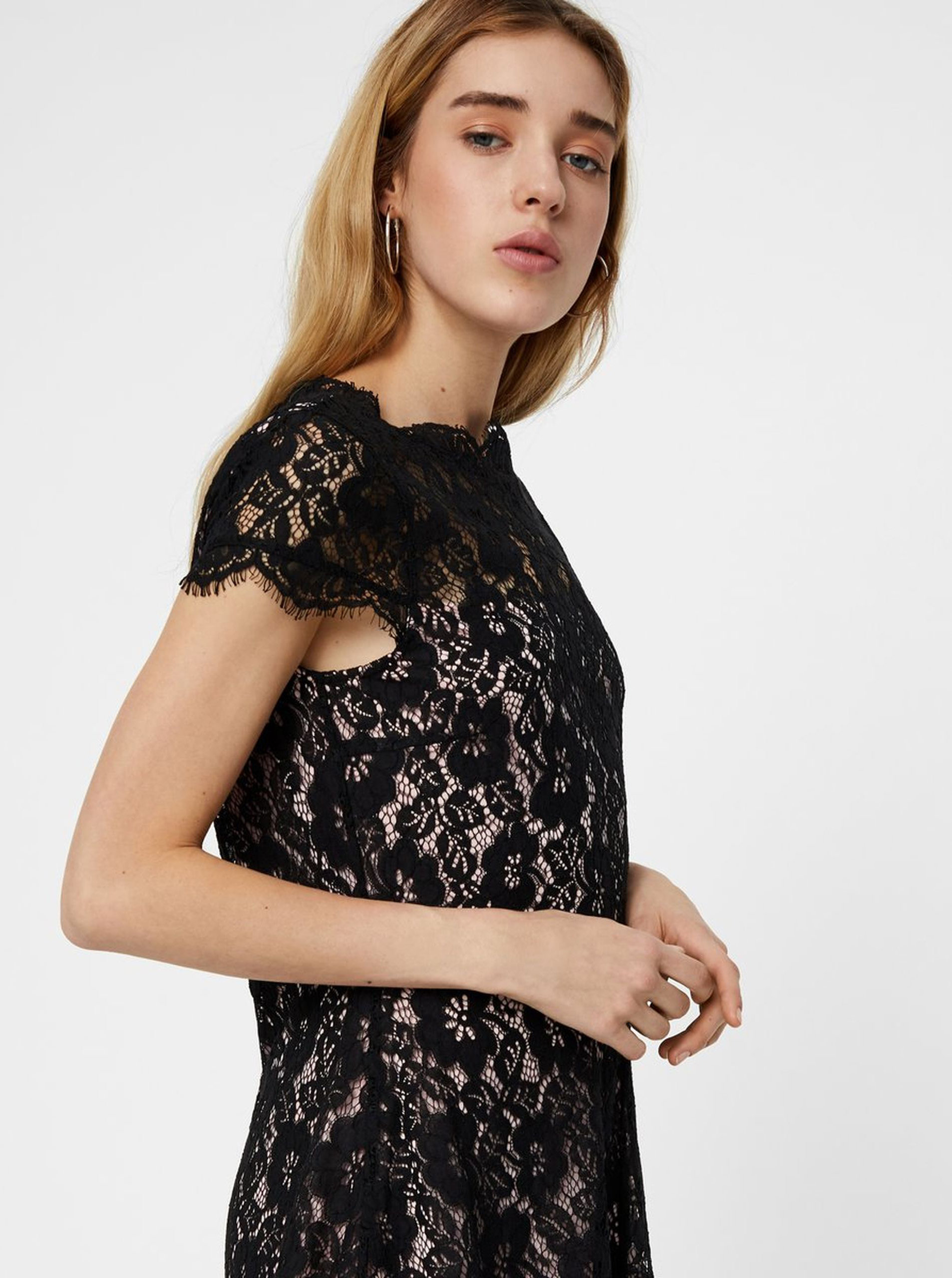 02bdcd2f9c88 Ružovo–čierne čipkované šaty s krátkym rukávom VERO MODA Jackie ...
