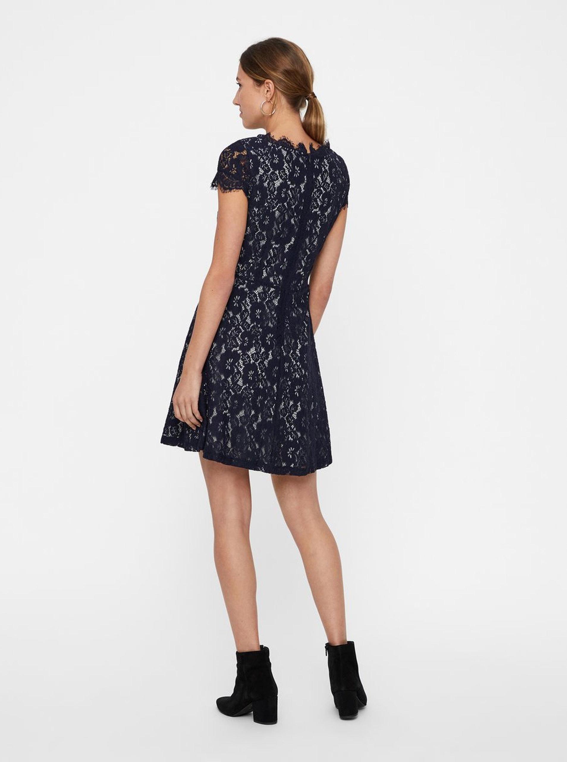 e216011ce0df Šedo-modré krajkové šaty s krátkým rukávem VERO MODA Jackie ...