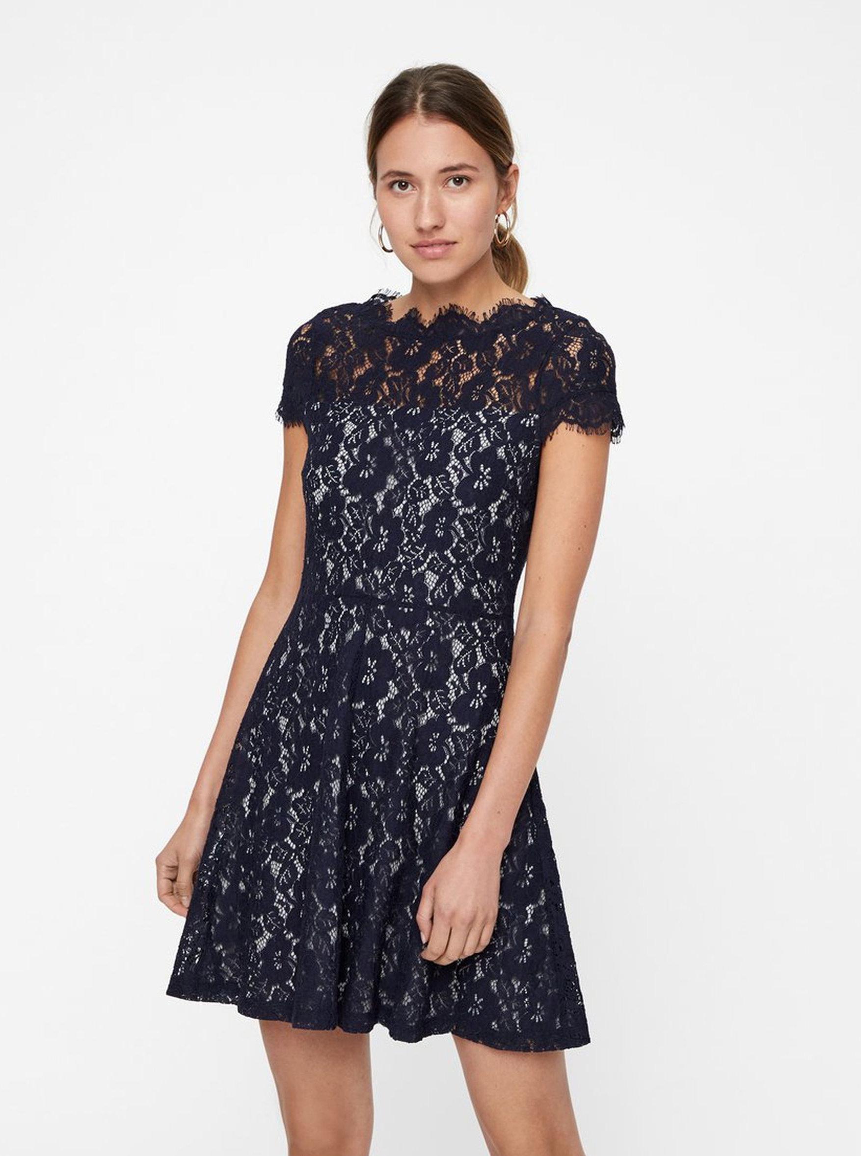 Sivo–modré čipkované šaty s krátkym rukávom VERO MODA Jackie ... 95e477dea34