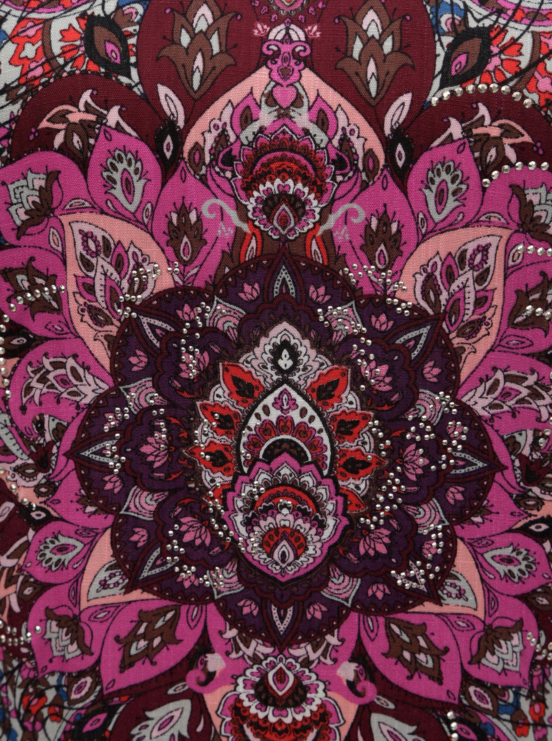 Ružovo–sivé tričko s ozdobnými kamienkami Desigual Sevilla ... 3d0f0972e99