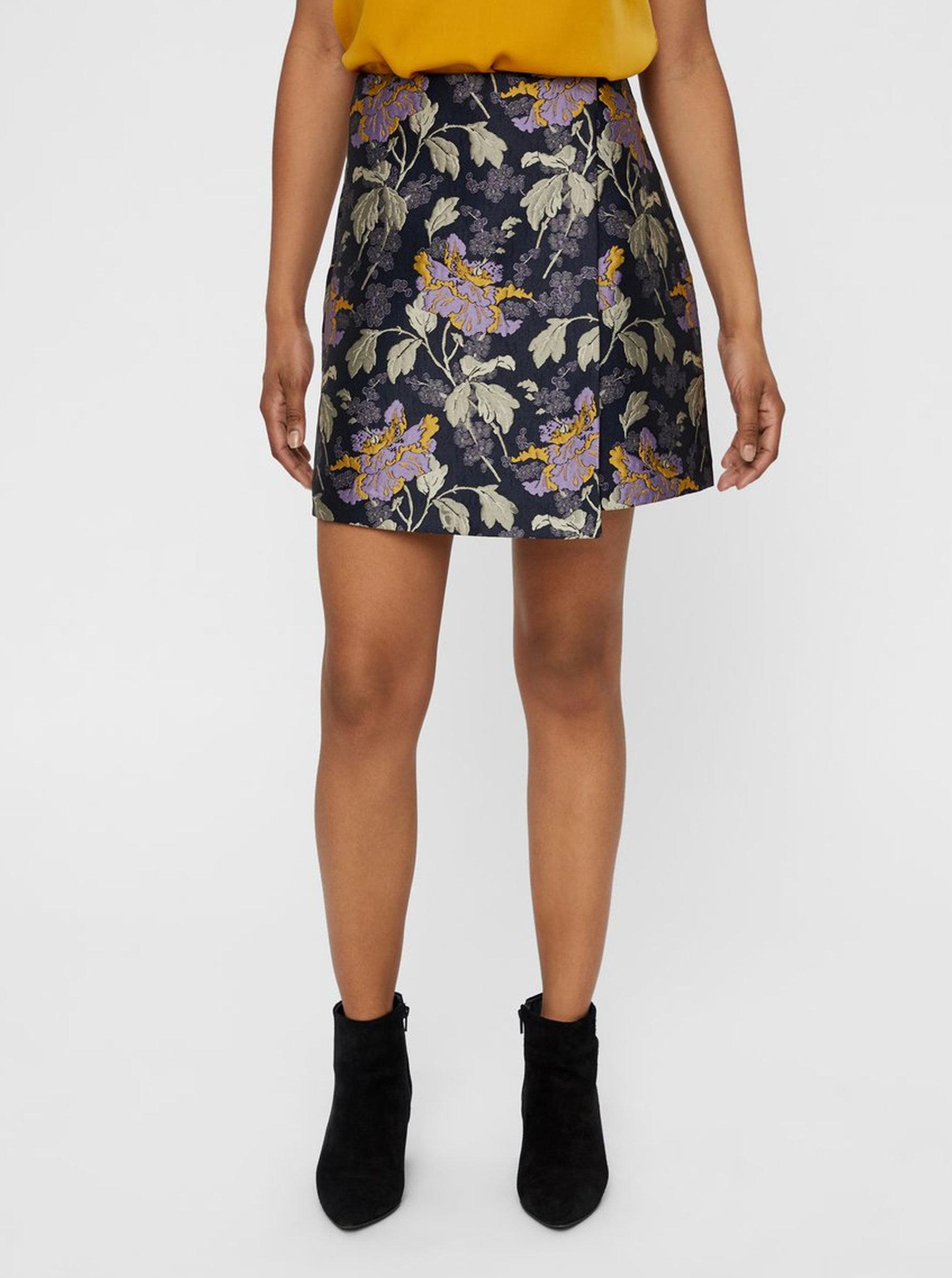 Tmavě modrá květovaná rovná sukně VERO MODA Freya ... 2e2c678533