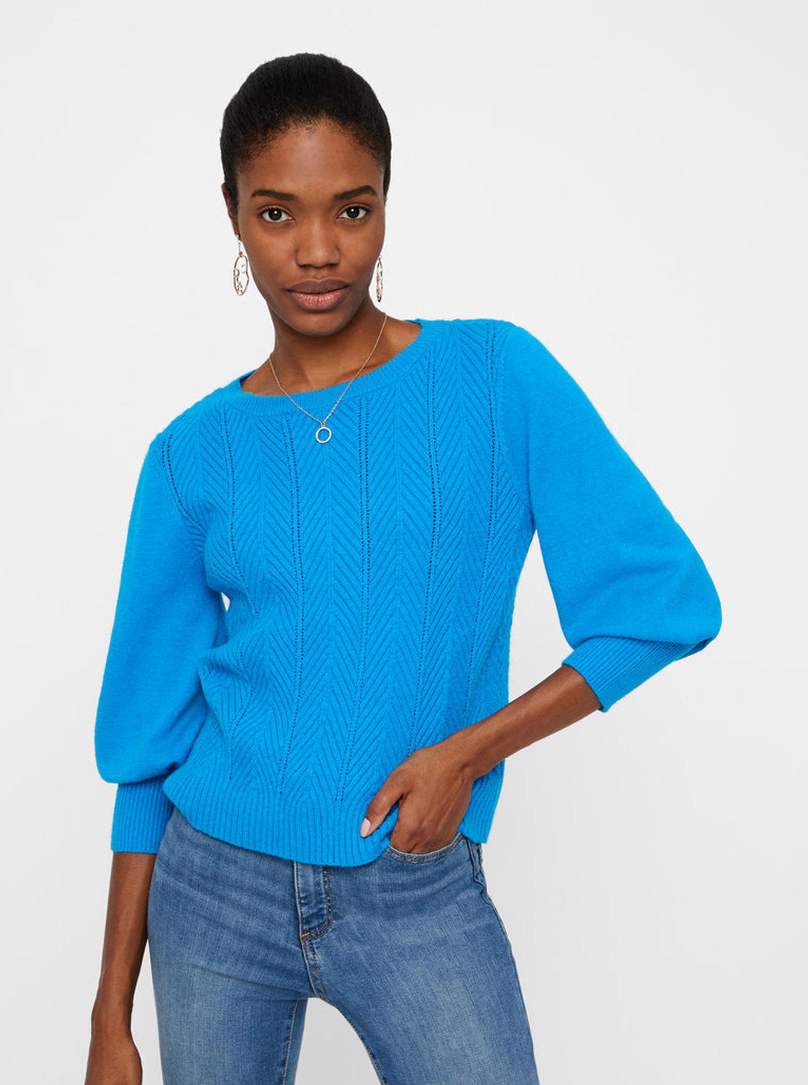 bb6219895fd Modrý vzorovaný svetr VERO MODA Diva ...
