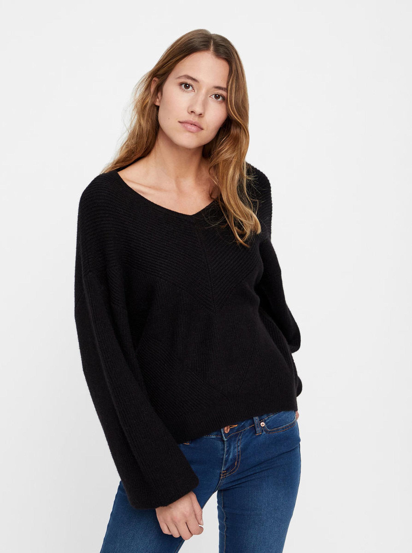 62ea11dee17 Černý pletený svetr s balónovými rukávy VERO MODA Diva ...