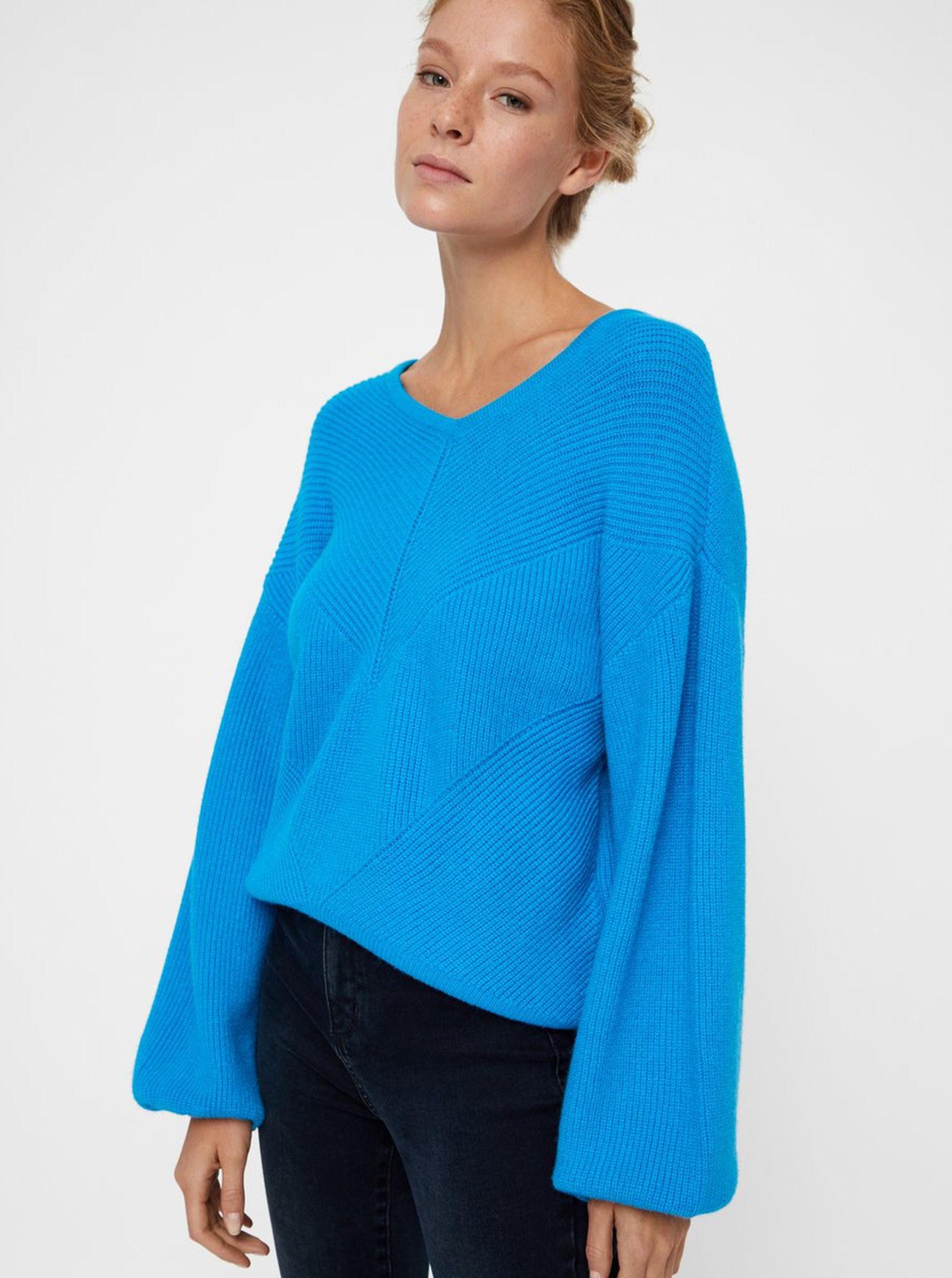 dd9379d29c4 Modrý pletený svetr s balónovými rukávy VERO MODA Diva ...