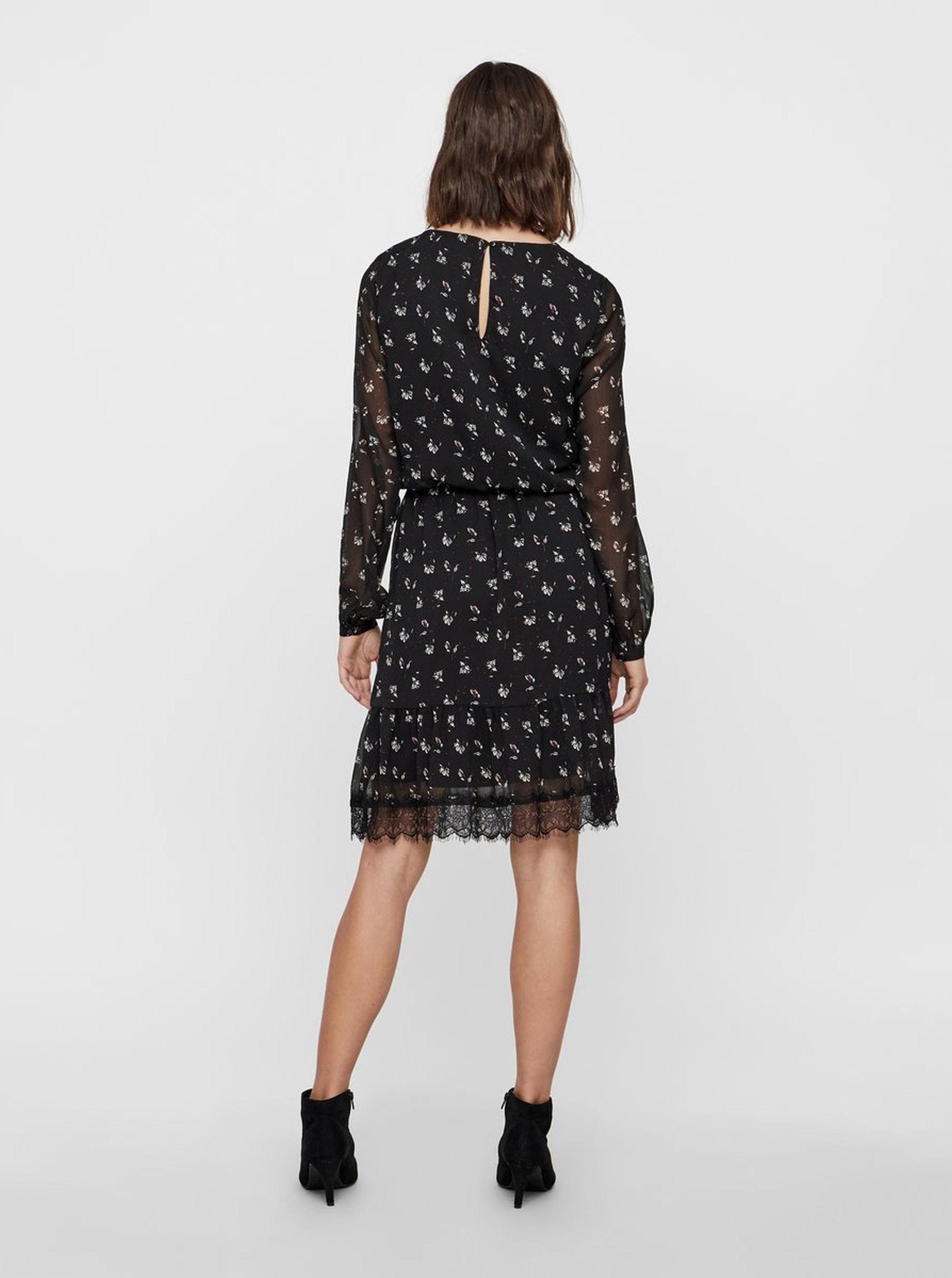 04530a415 Čierne kvetované šaty s čipkou VERO MODA Viola | ZOOT.sk