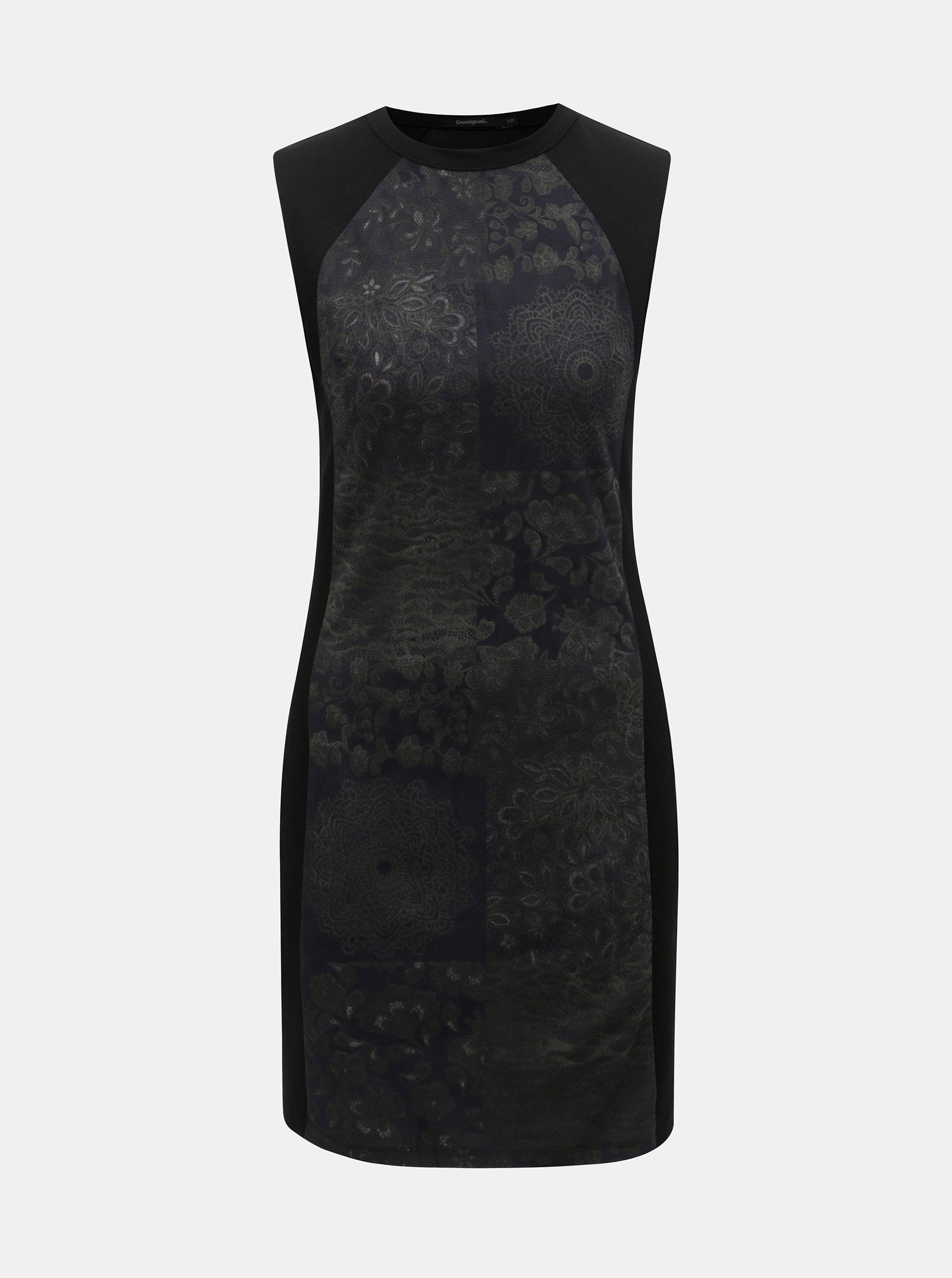 4e7e165f935 Černé pouzdrové vzorované šaty Desigual Corinto ...