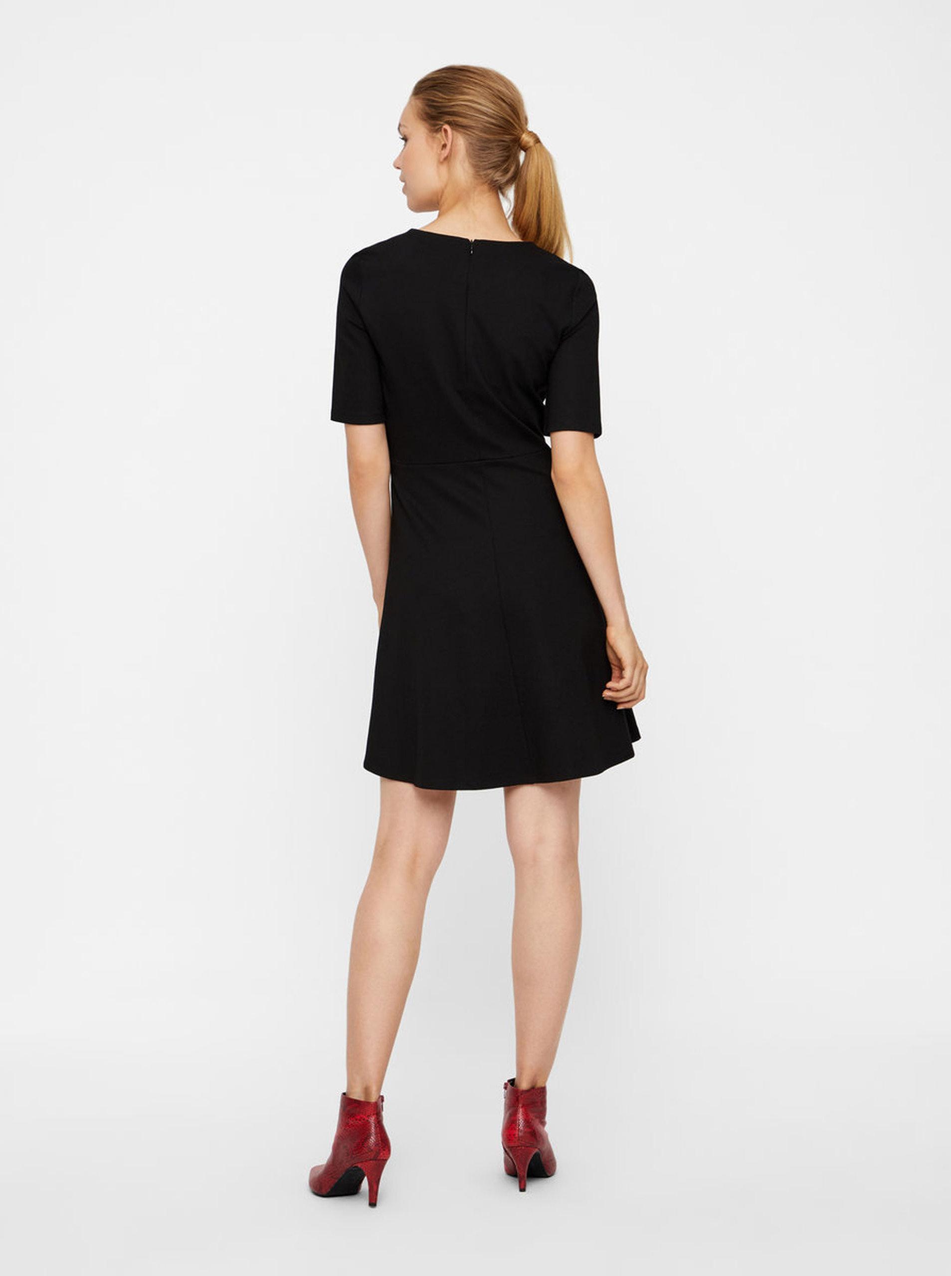 9046f0958582 Čierne šaty s krátkym rukávom VERO MODA Teresa ...