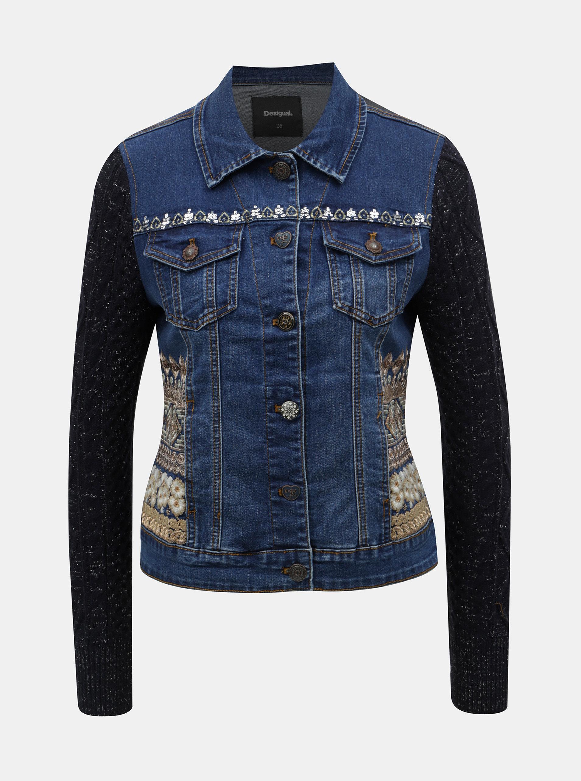 Tmavě modrá džínová bunda se svetrovými rukávy Desigual Bluely ... 26cf6147673