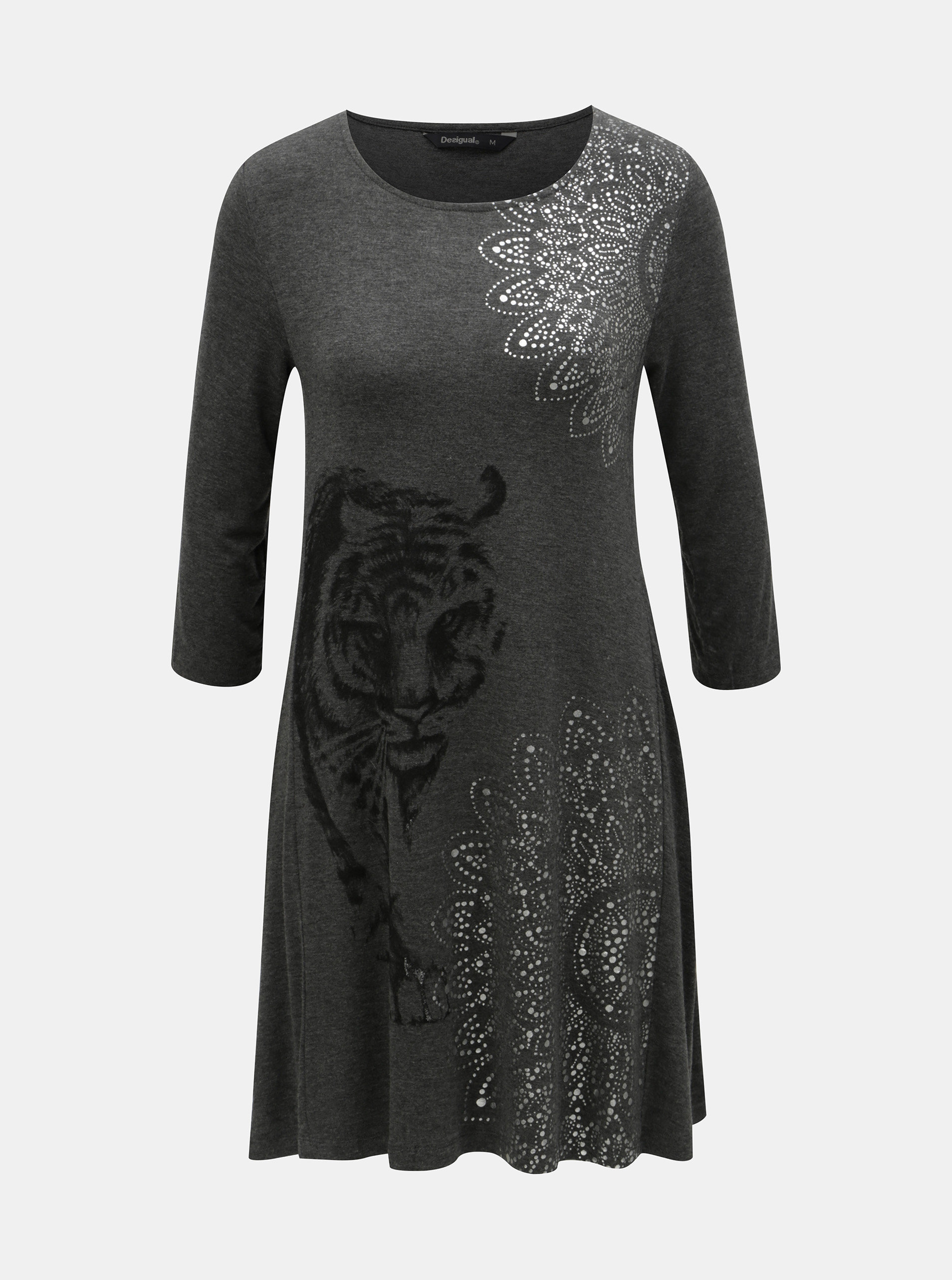093bf0ab67be Šedé šaty s potiskem a 3 4 rukávem Desigual Pikory ...
