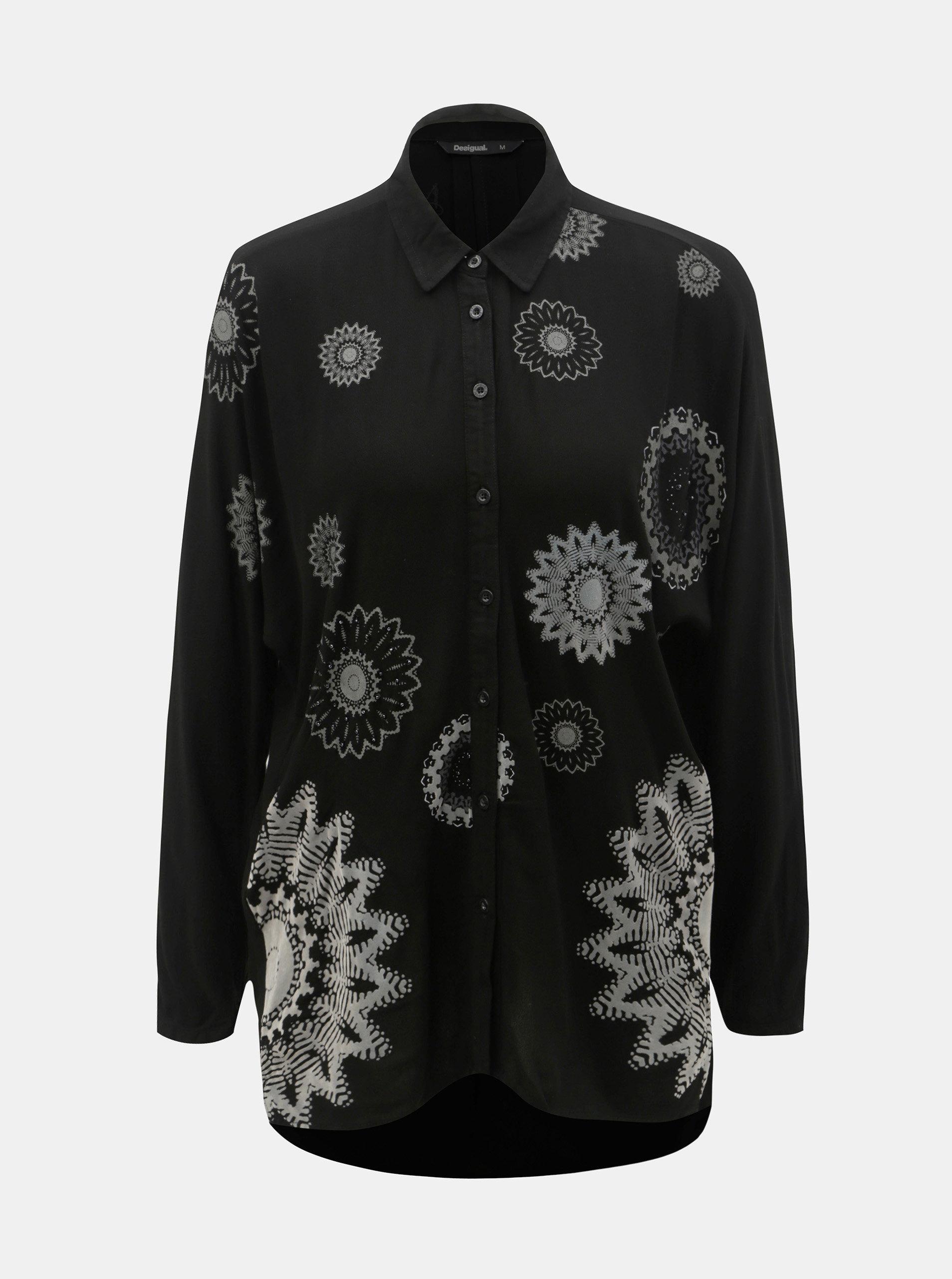 Čierna voľná vzorovaná košeľa s predĺženou zadnou časťou Desigual Paula ... 05e59b7568b