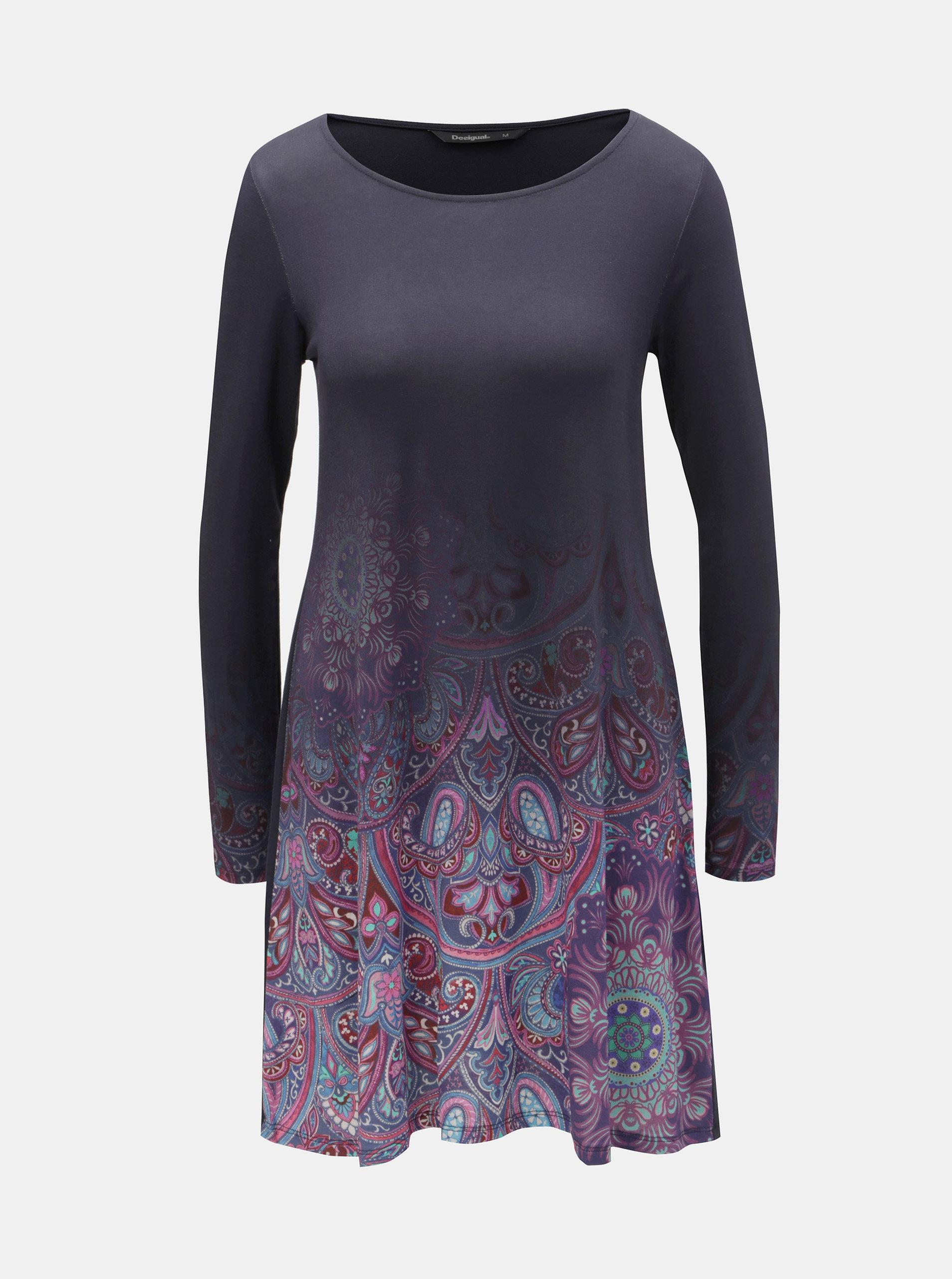 Tmavomodré šaty s potlačou a dlhým rukávom Desigual Troya ... 48b0839c3d6
