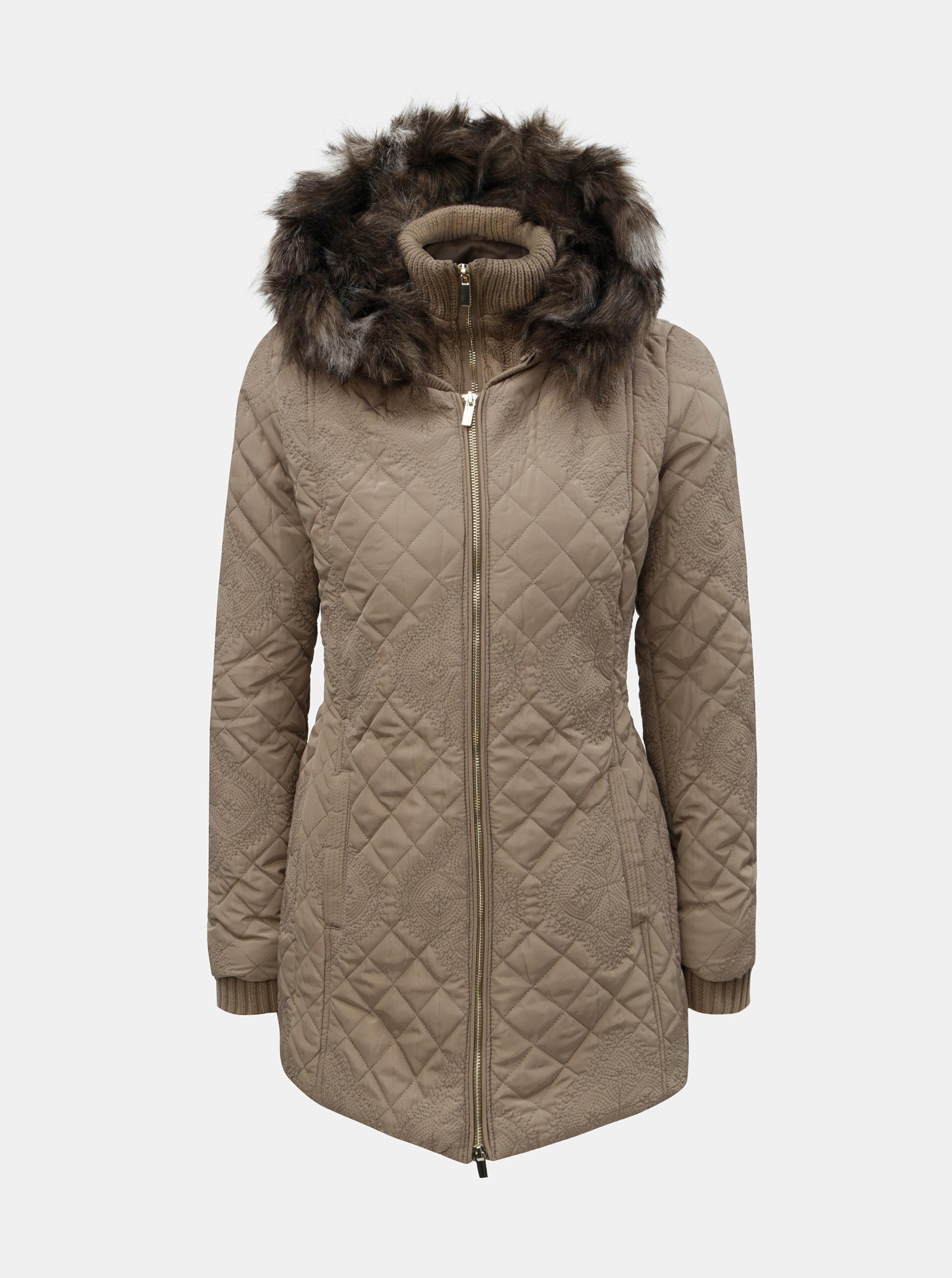 be90f6f4e36 Béžová zimní bunda s odnímatelnou vnitřní svetrovou částí Desigual Maca ...