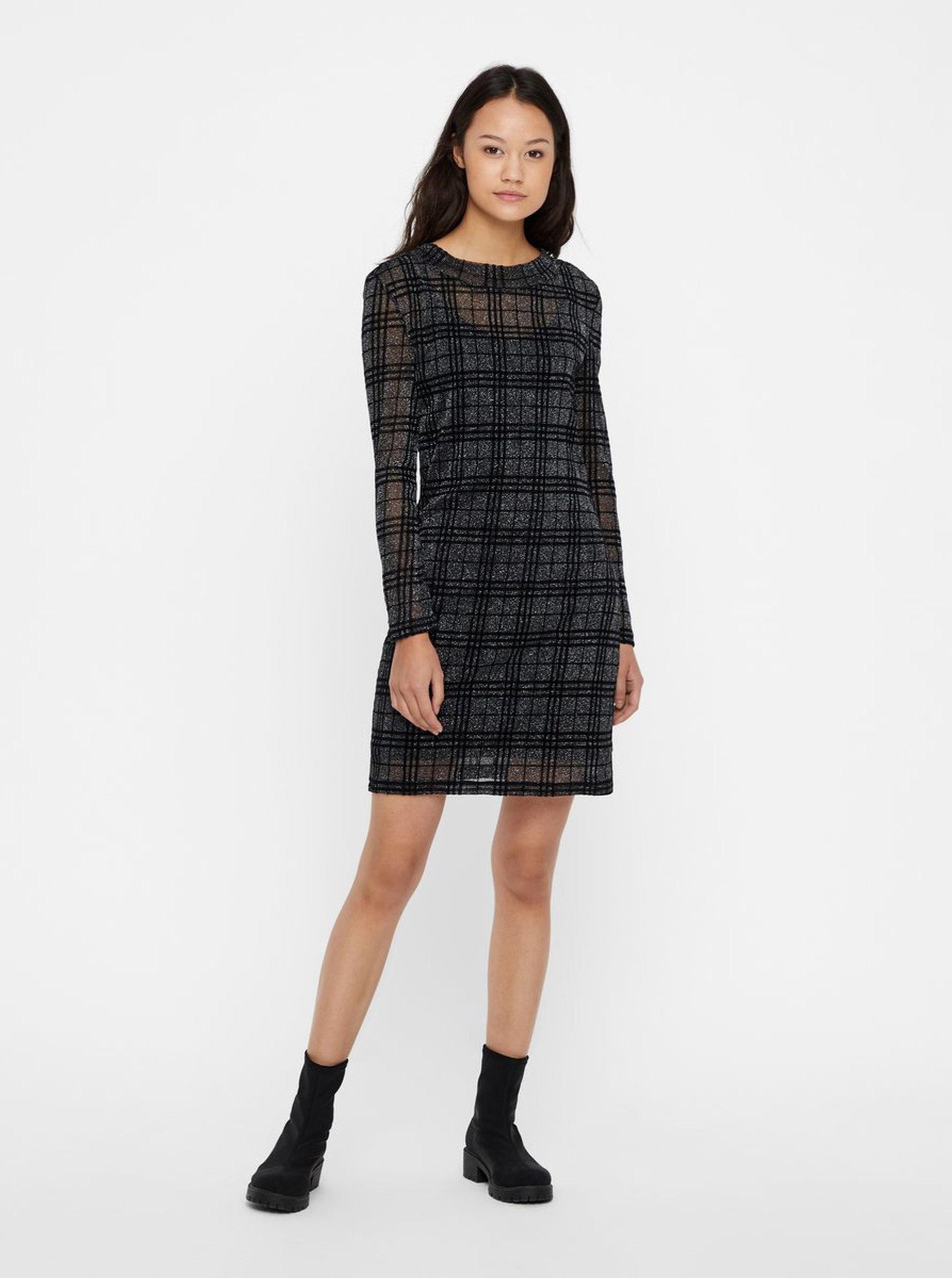 69509a40c1b Černé kostkované šaty s dlouhým rukávem Noisy May Kaya ...