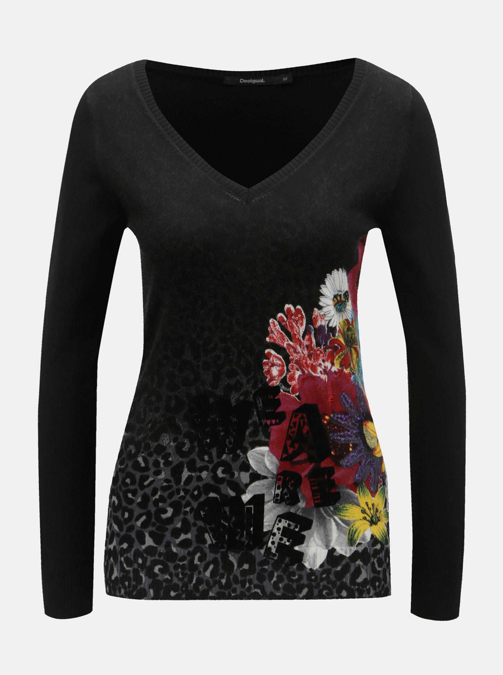 506b483e56 Čierny tenký sveter s motívom kvetov Desigual Paty | ZOOT.sk