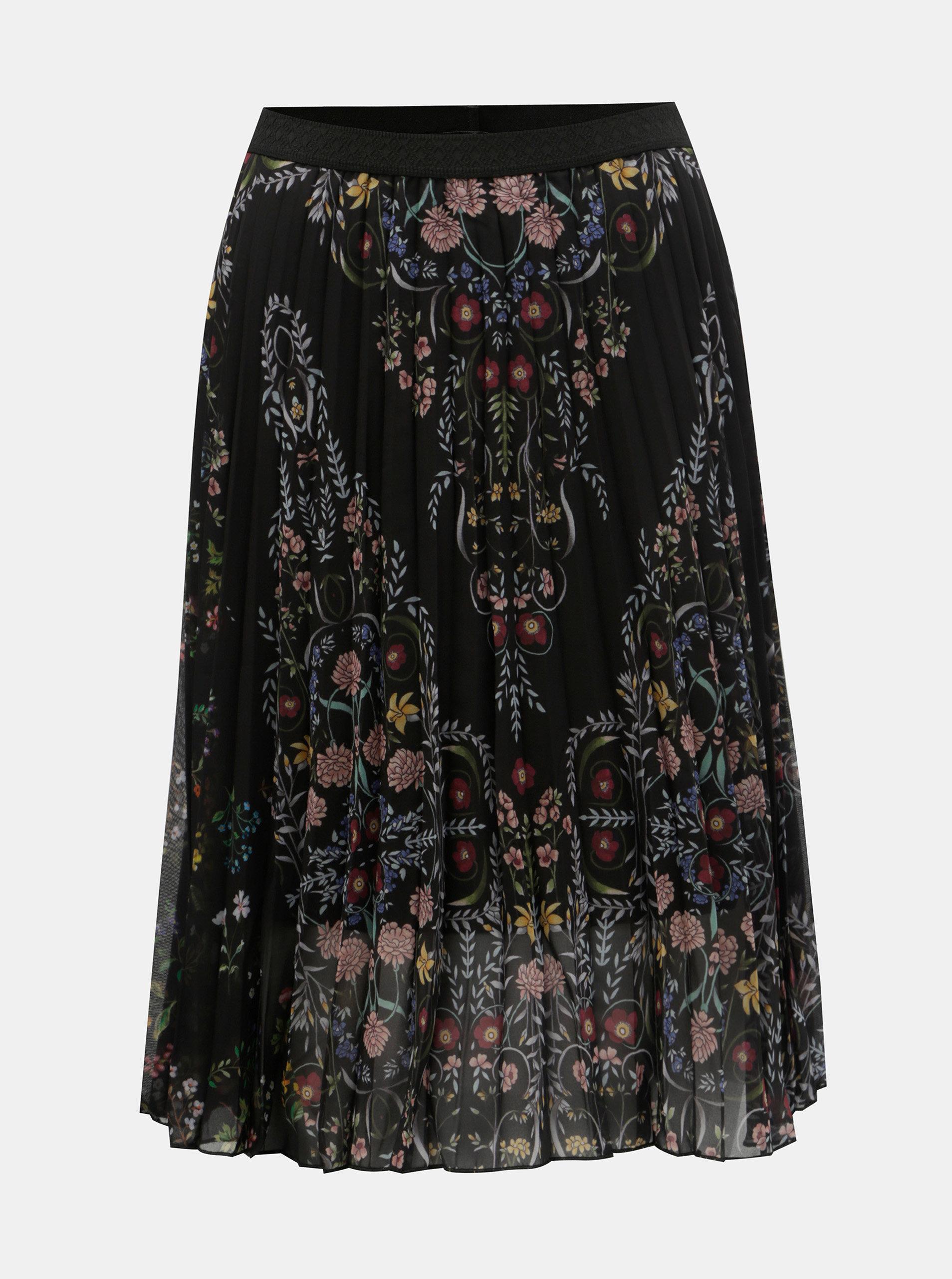 Čierna kvetovaná skladaná sukňa Desigual Frida ... b47140f9e10