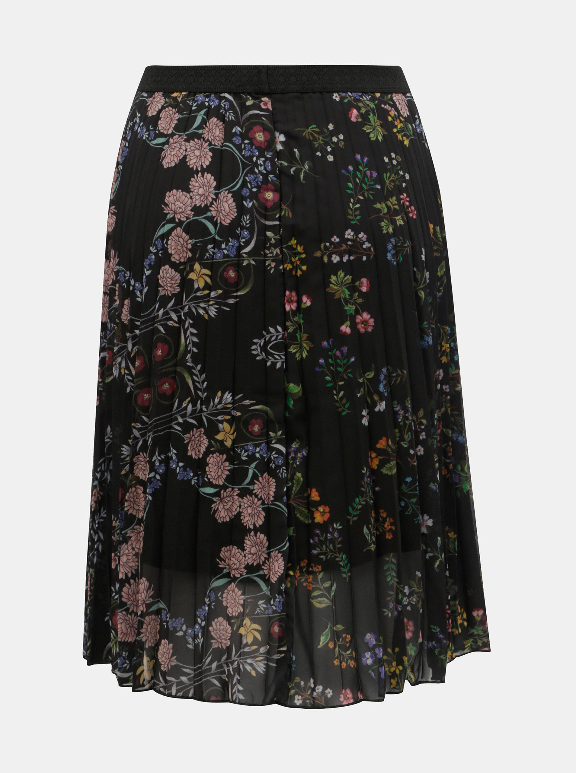Čierna kvetovaná skladaná sukňa Desigual Frida ... 77312125c4d